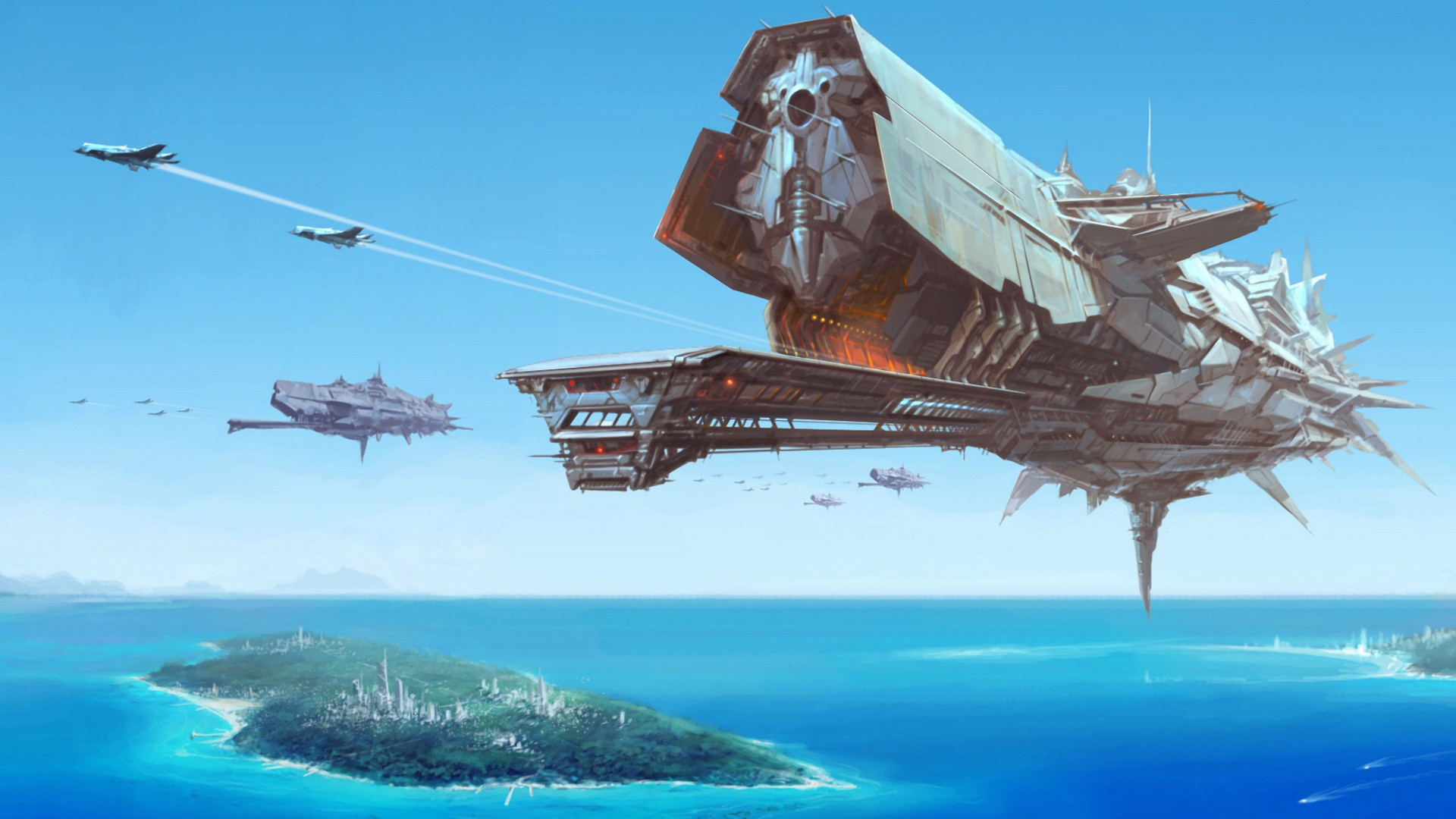 General 1920x1080 spaceship futuristic aircraft fantasy art island contrails sea science fiction artwork airplane digital art