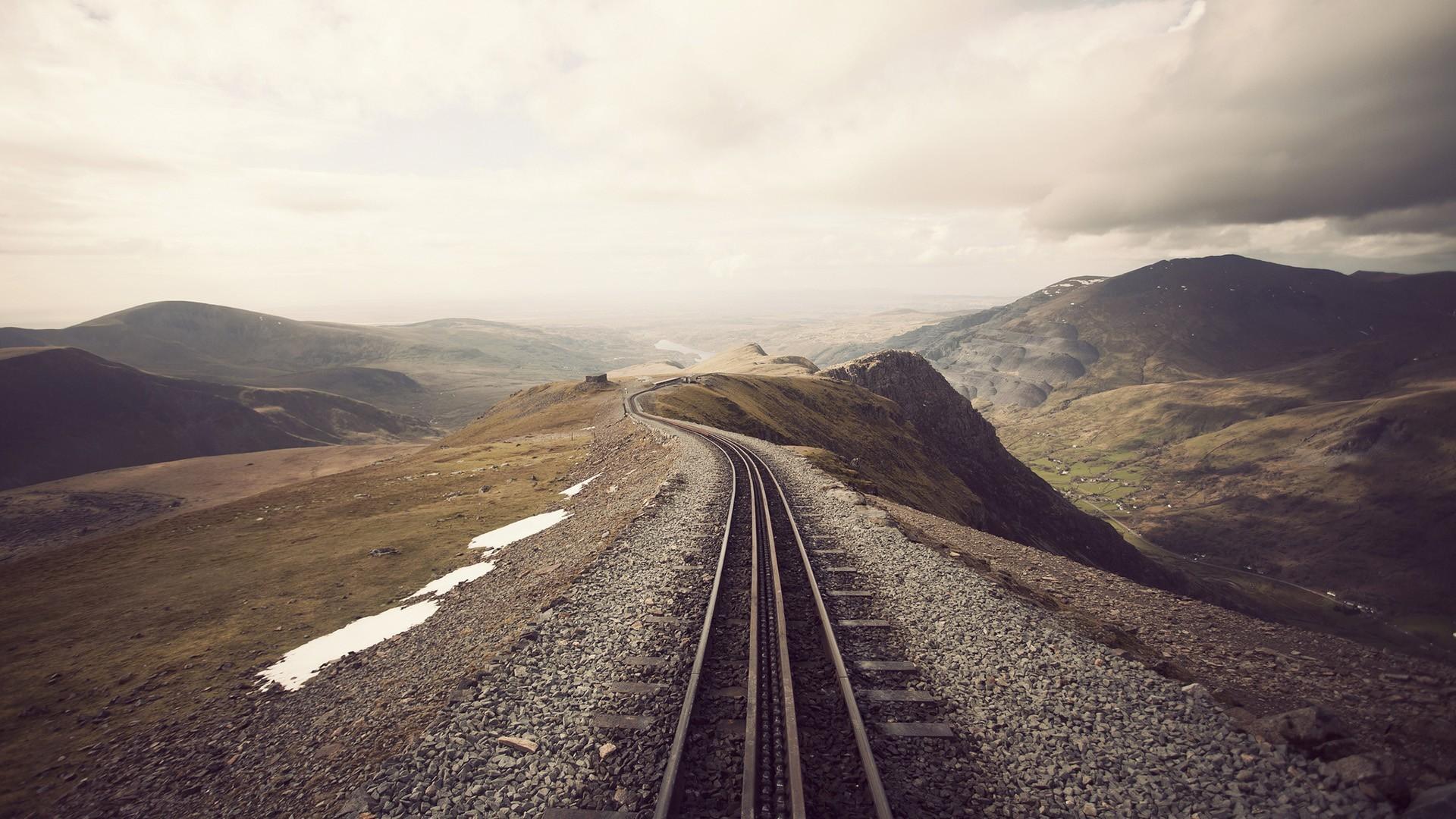 General 1920x1080 mountains train railway railroad track landscape sepia beige mist snow