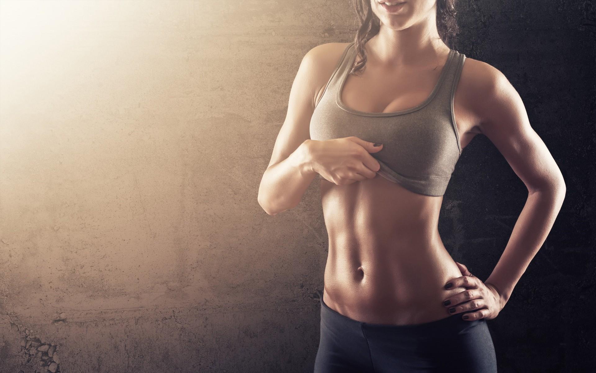 People 1920x1200 women sports bra abs leggings hands on hips fitness model