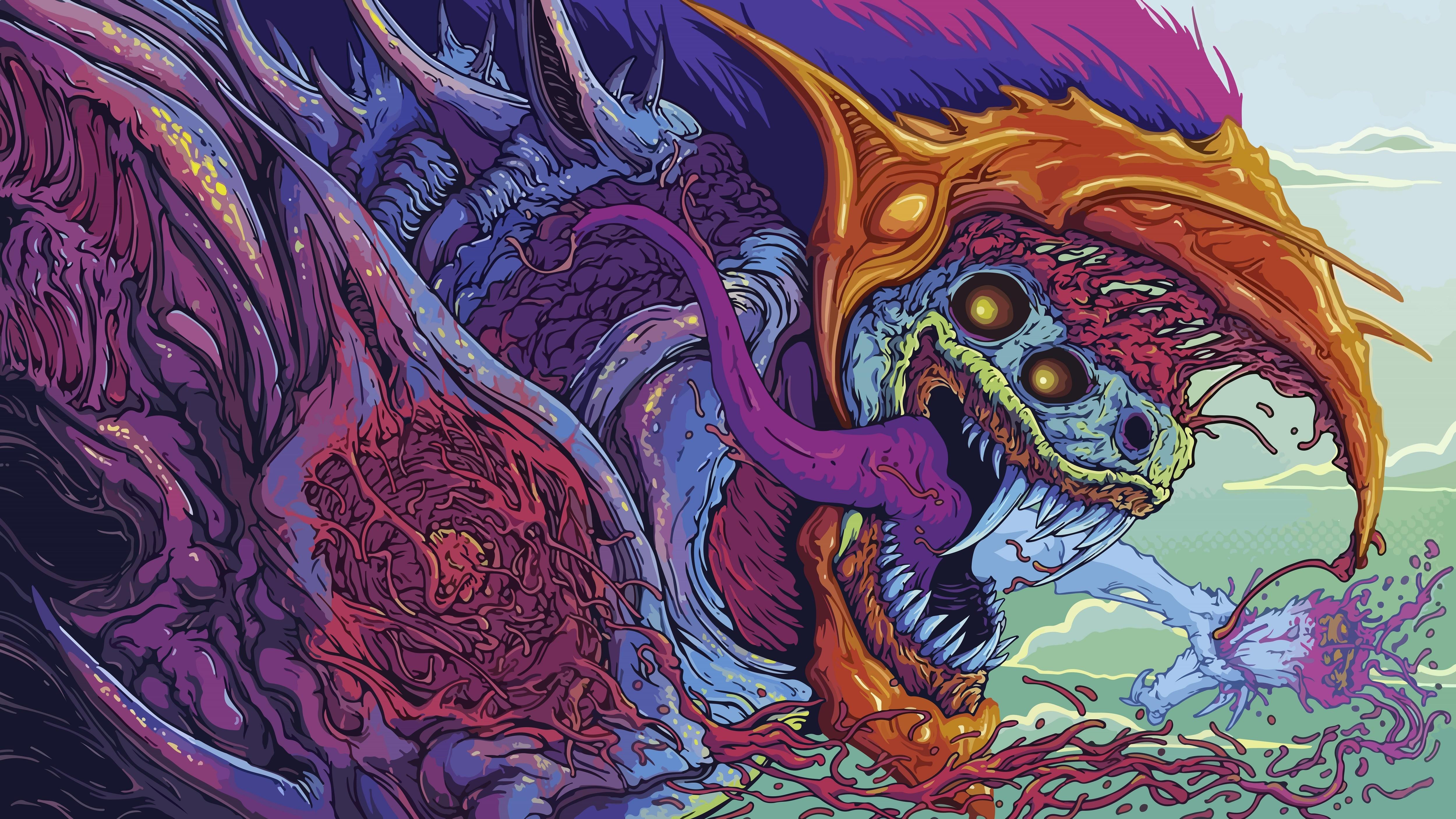 General 5000x2813 Hyperbeast Brock Hofer creature colorful teeth digital art