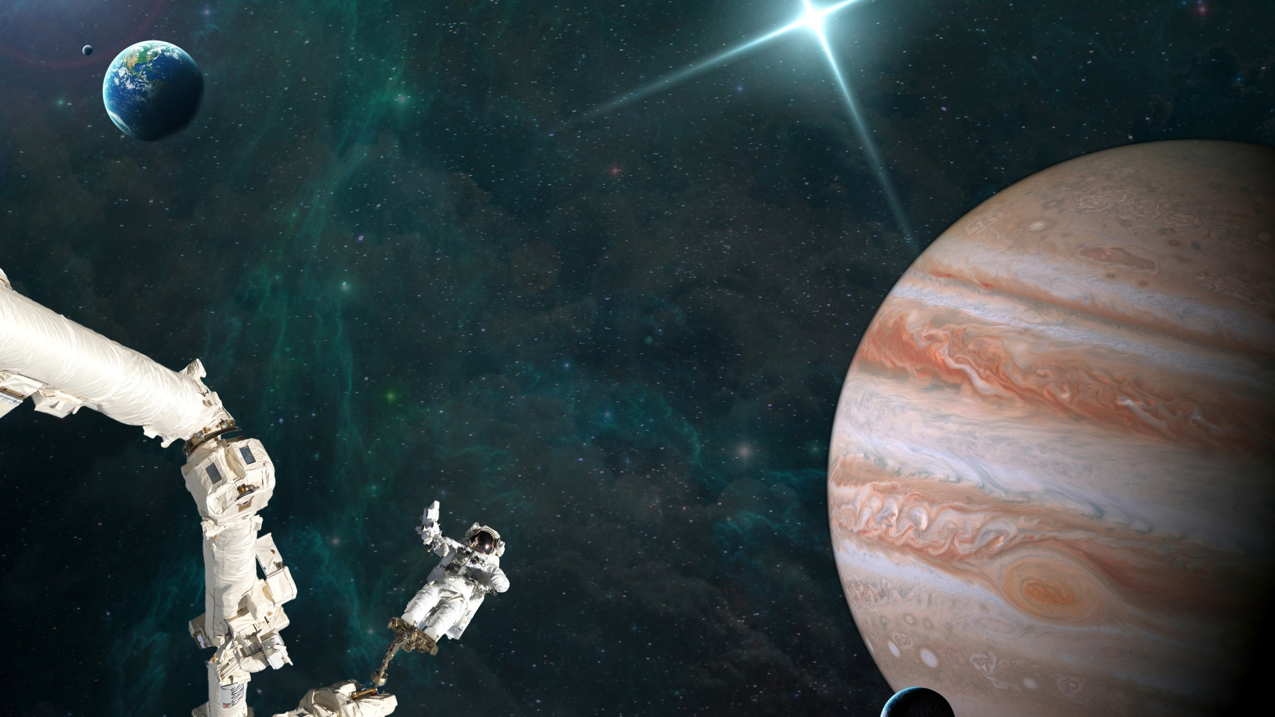 General 2560x1440 digital art space universe stars nebula planet Pluto Earth space station astronaut spacesuit helmet glowing Milky Way Solar System science fiction photo manipulation spaceship
