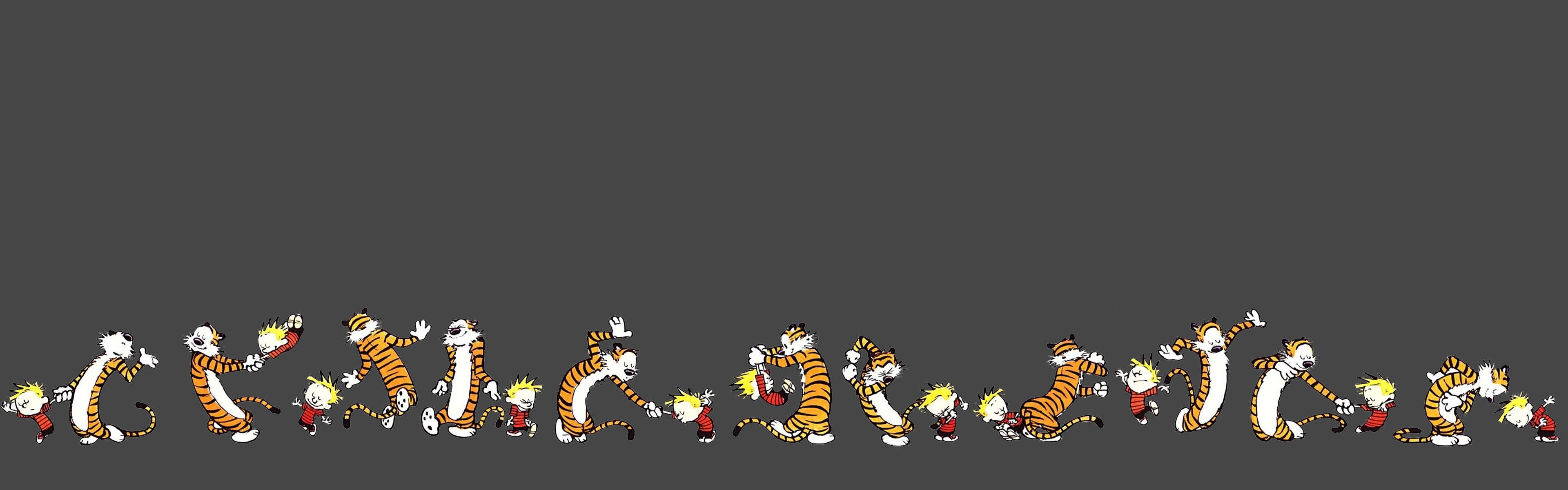 General 3840x1200 Calvin and Hobbes comics minimalism dual monitors multiple display dancing