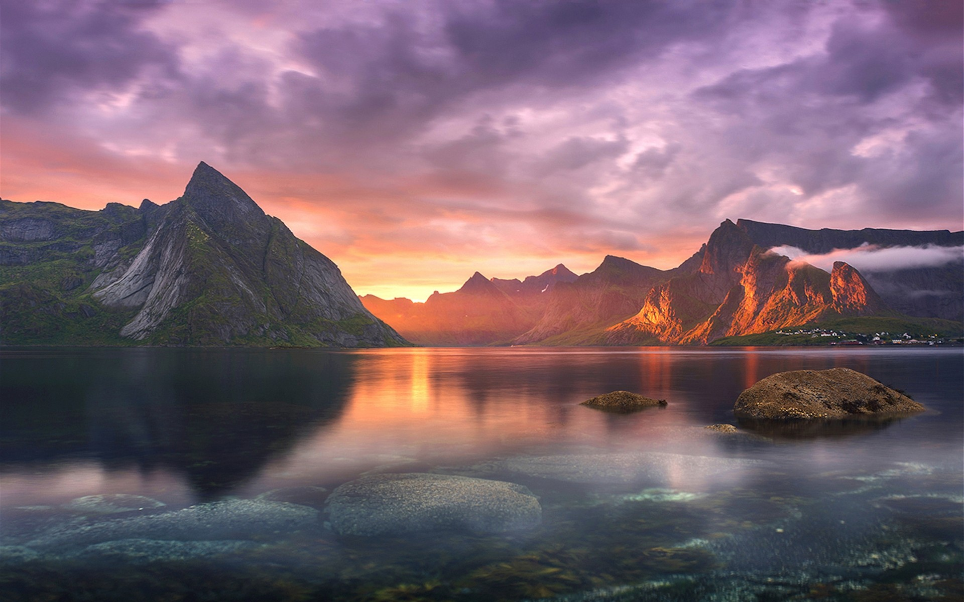 General 1920x1200 nature landscape lake sunset mountains clouds sun rays village sky sunlight Lofoten