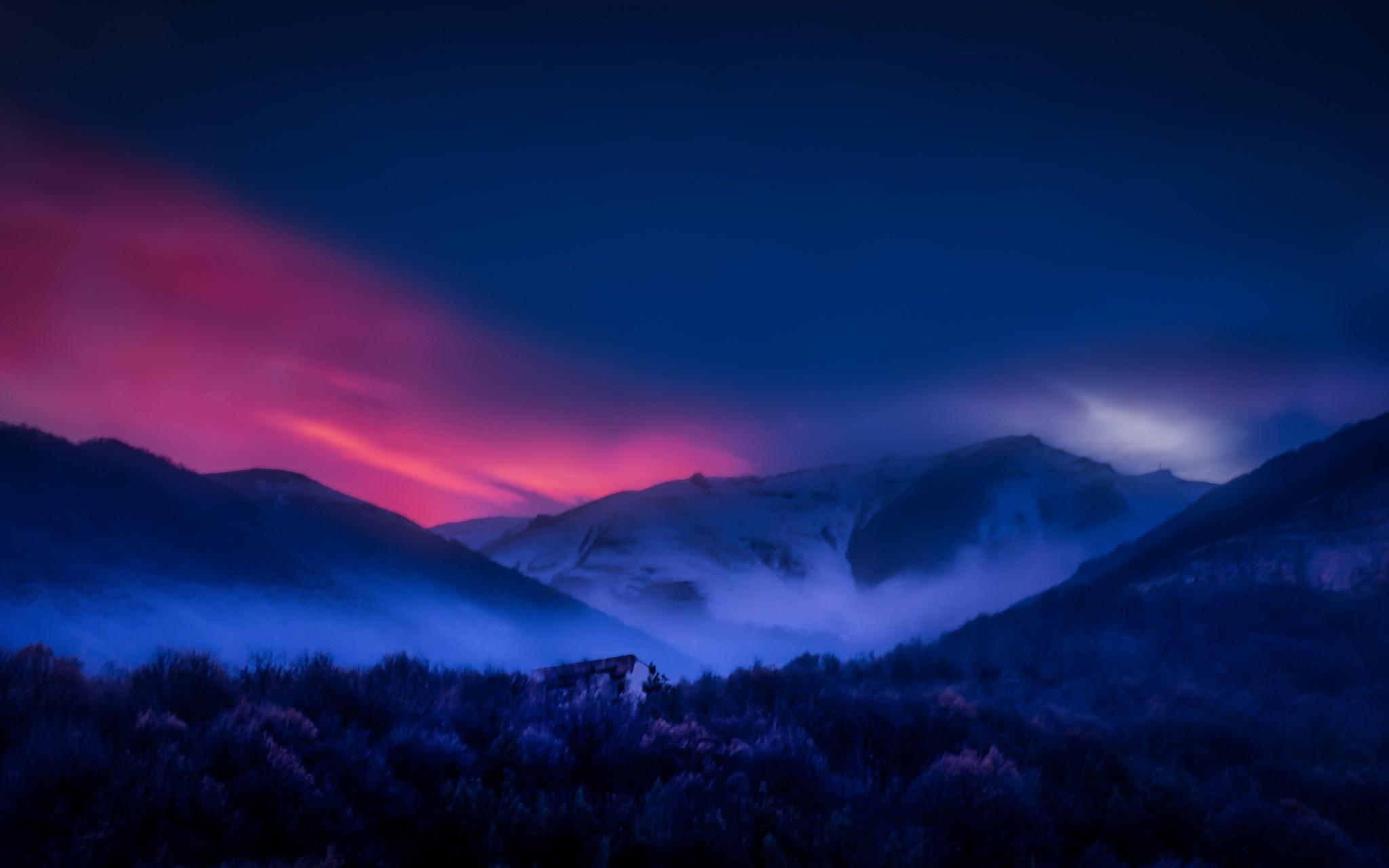 General 2048x1280 nature landscape Armenia mountains sunset forest mist snowy peak sky trees