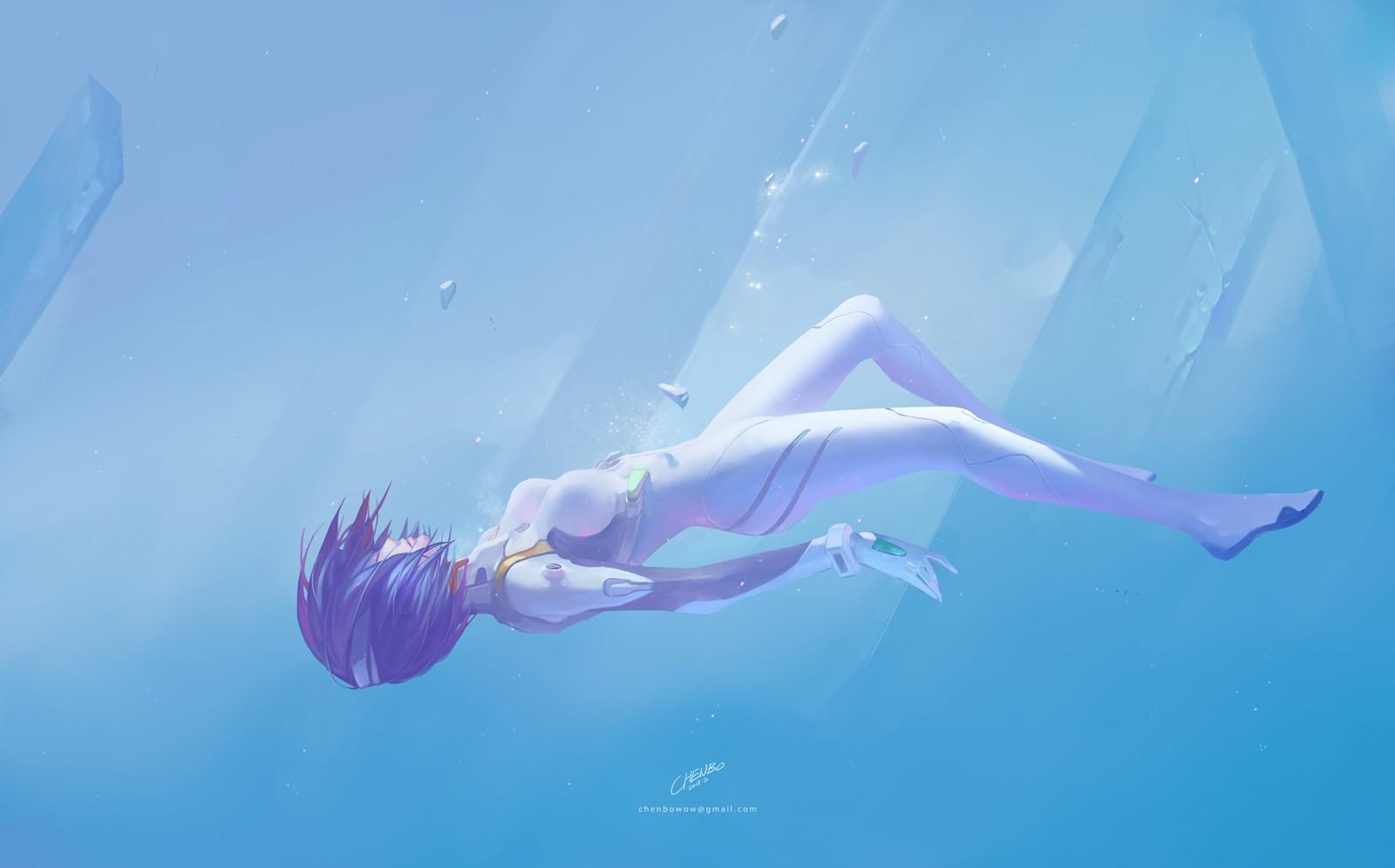 Anime 1600x996 underwater anime girls artwork Neon Genesis Evangelion Ayanami Rei plugsuit Chenbo thighs small boobs short hair 2D blue hair
