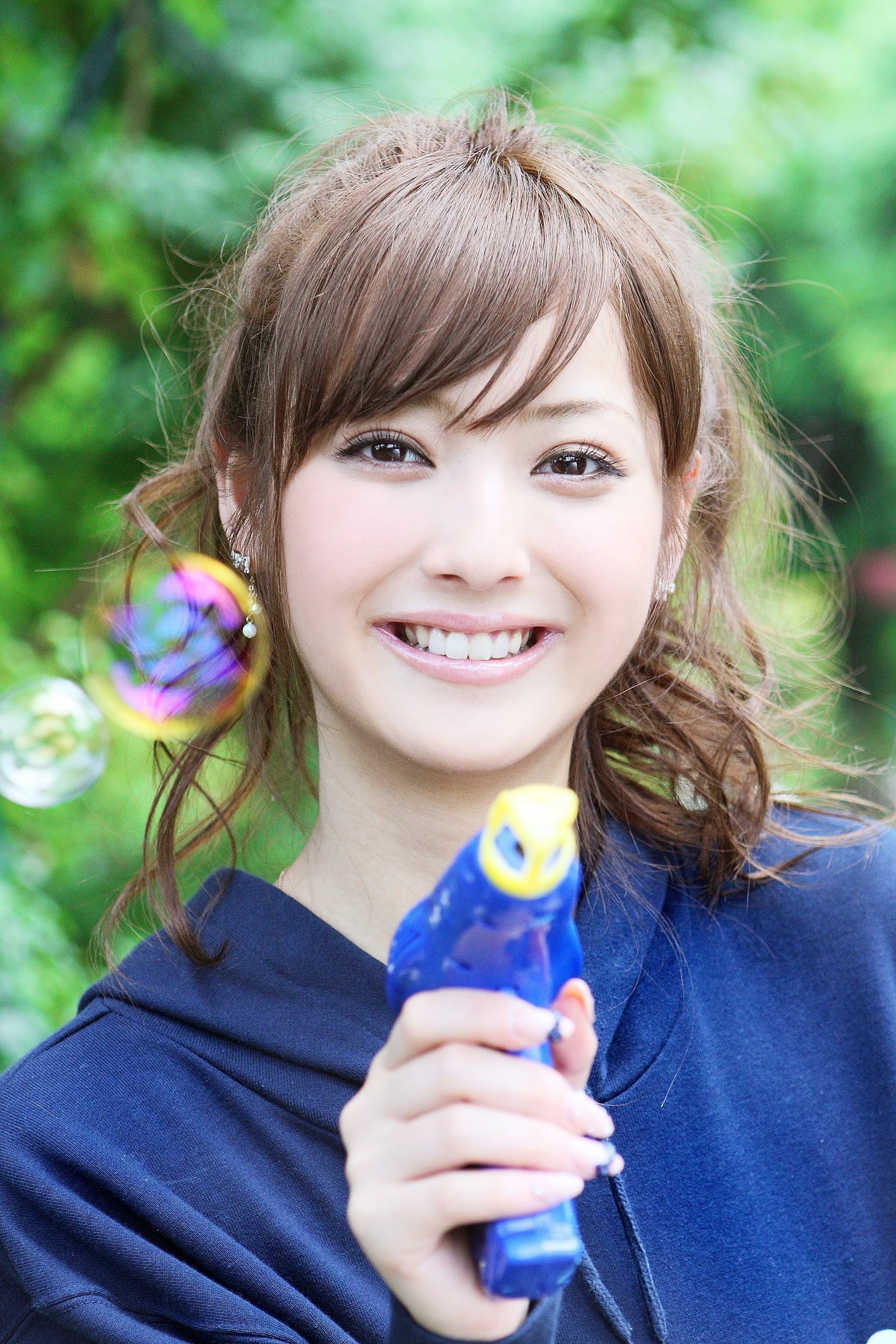 People 1600x2400 Sasaki Nozomi model Asian women Japanese bubbles smiling brunette brown eyes portrait
