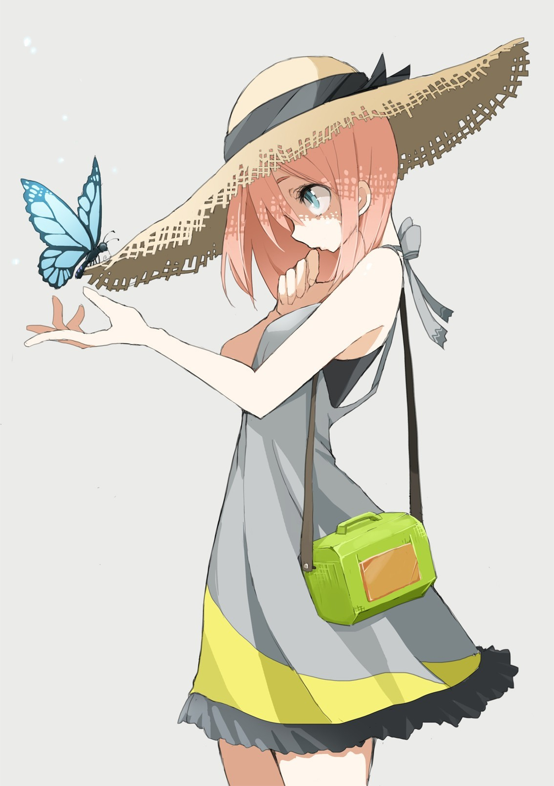 Anime 1134x1609 anime anime girls original characters butterfly hat women with hats blue eyes dress simple background white background
