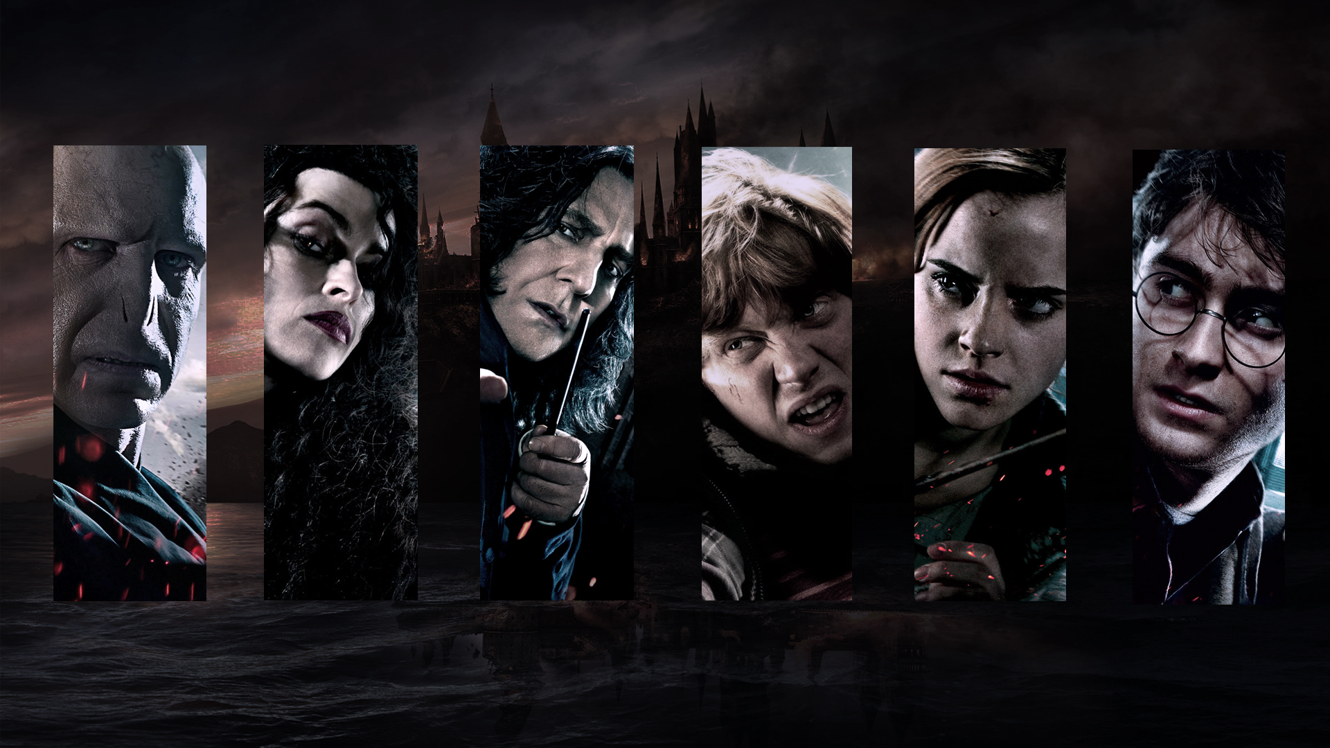 General 1920x1080 movies Bellatrix Lestrange Helena Bonham Carter Harry Potter and the Deathly Hallows Lord Voldemort Harry Potter Emma Watson Hermione Granger Severus Snape Daniel Radcliffe collage Hogwarts