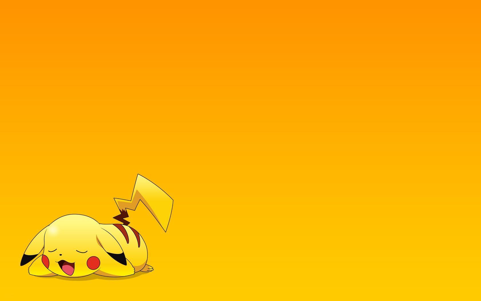 General 1680x1050 simple background yellow background Pokémon Pikachu anime gradient