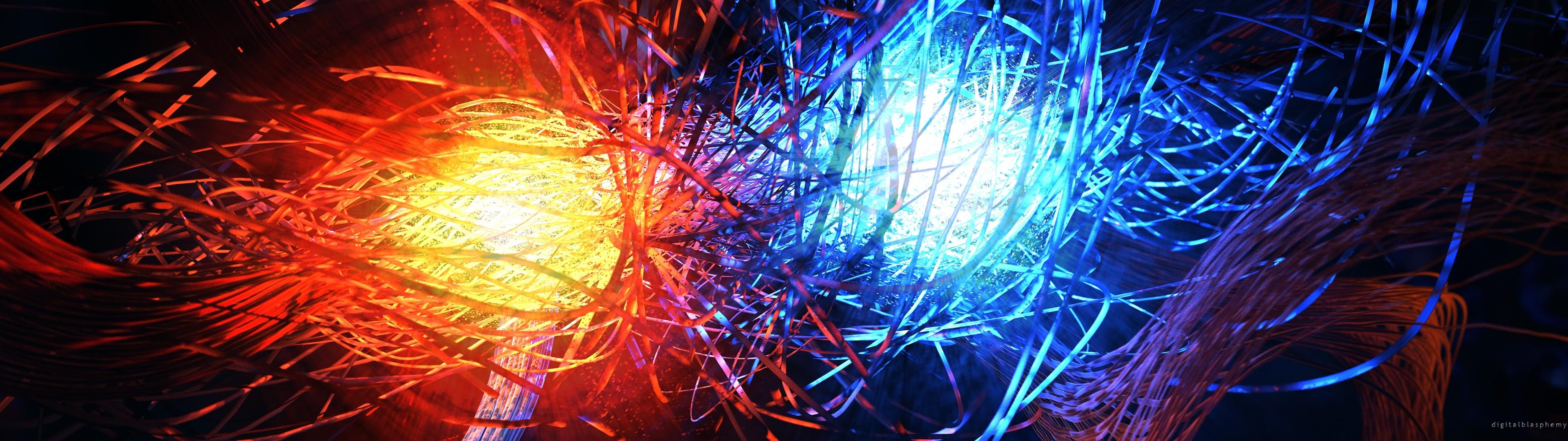 General 3840x1080 abstract fire ice digital art Digital Glowing CGI shapes swirls