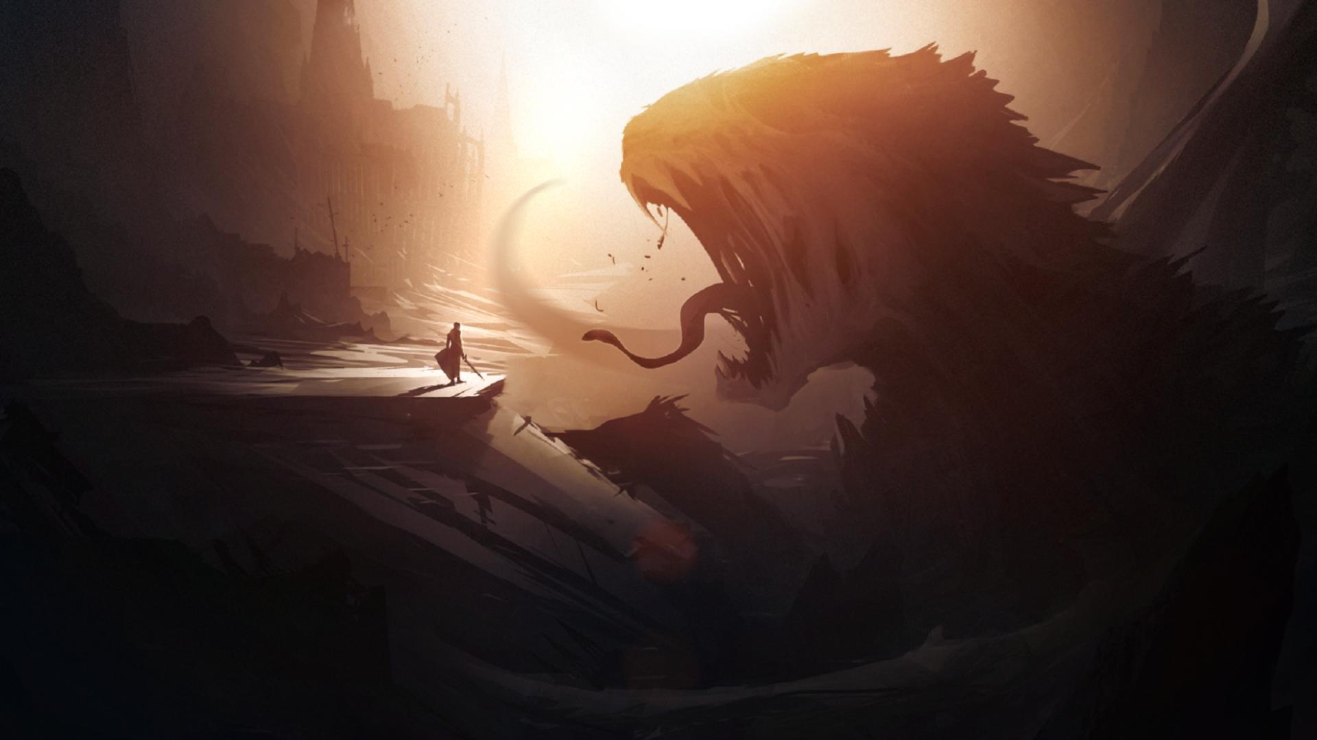 General 1920x1080 artwork fantasy art digital art warrior creature mountains