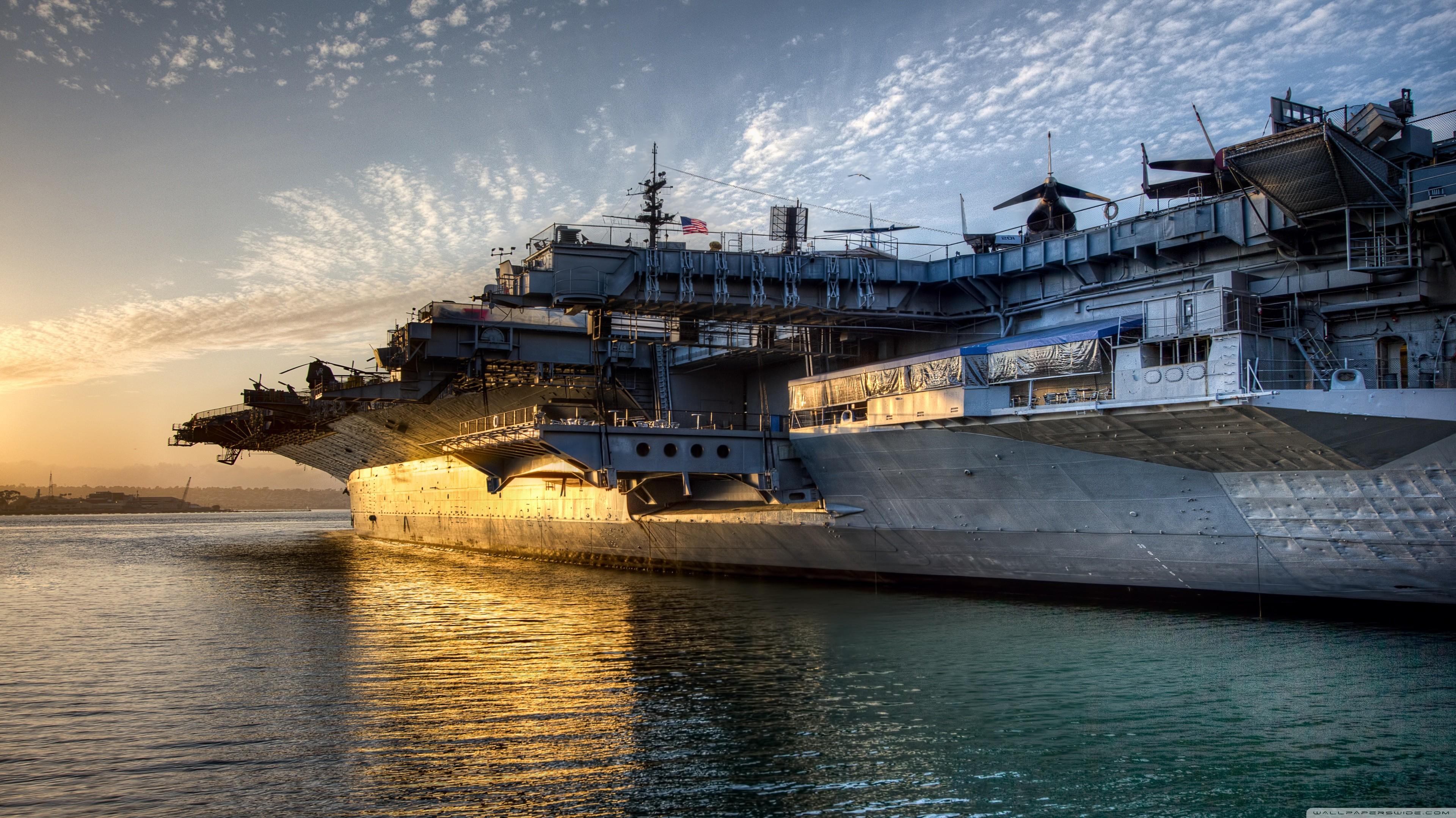 General 3840x2160 sunset military base military aircraft aircraft carrier ship water USS Midway aircraft sea