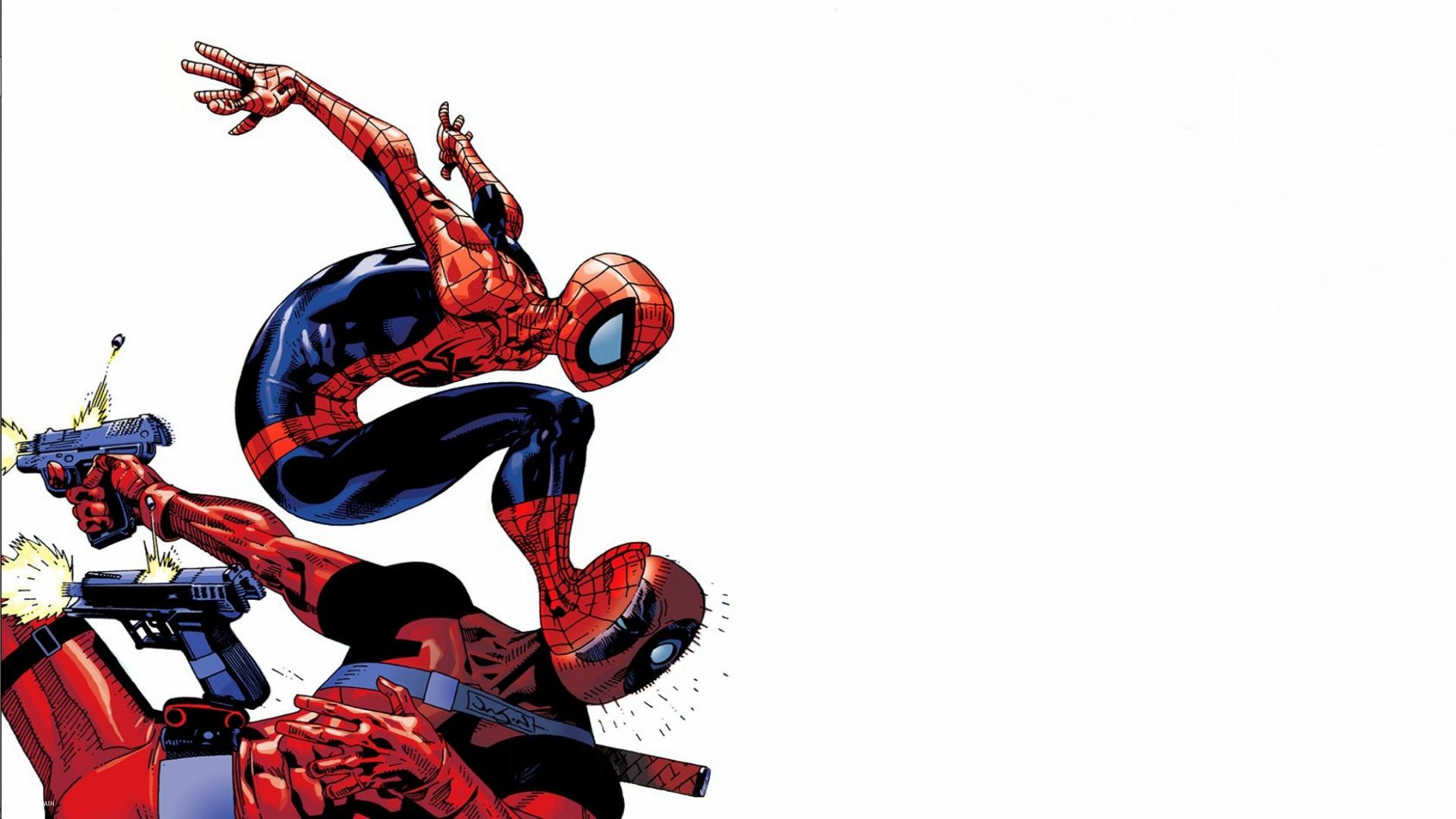 General 1920x1080 artwork Spider-Man comic art simple background gun weapon Deadpool