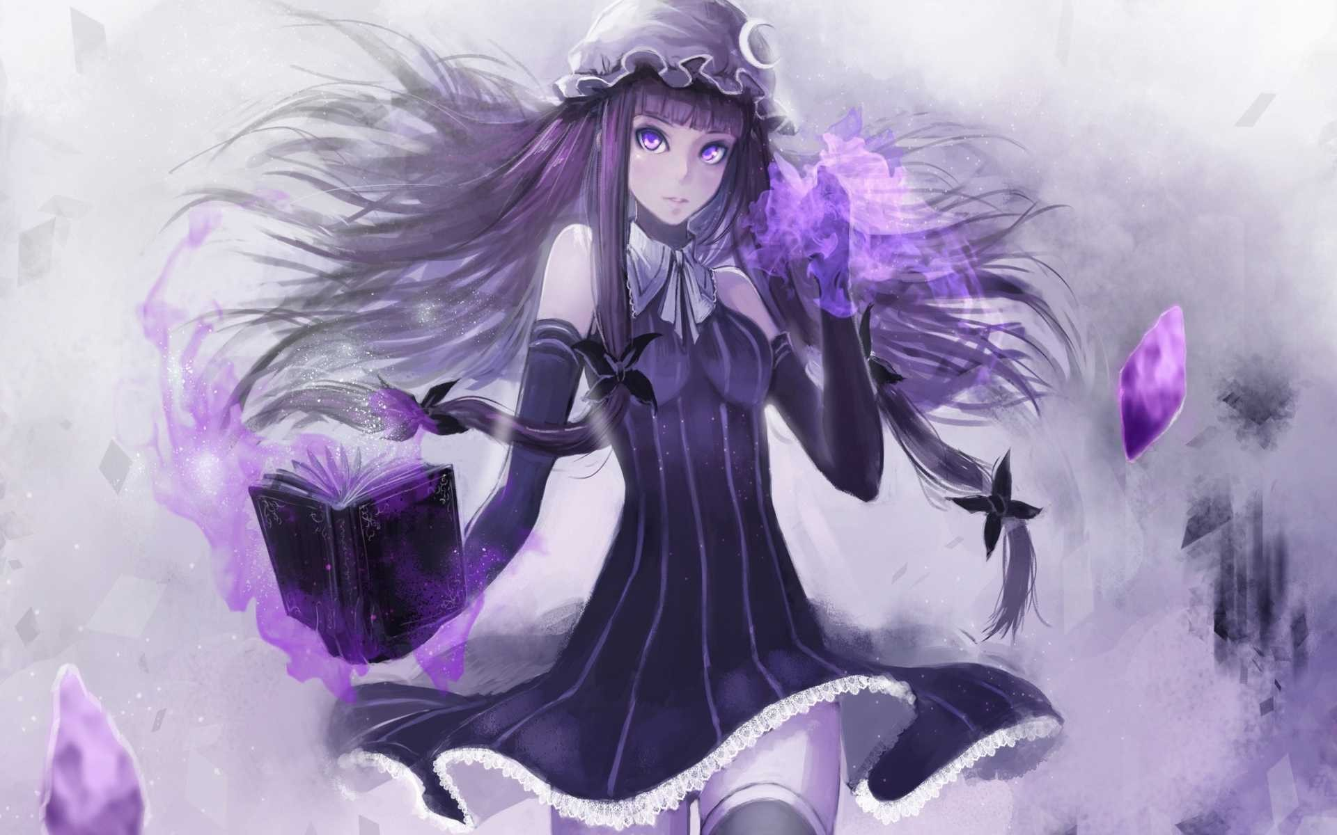 Anime 1920x1200 manga Patchouli Knowledge anime girls purple eyes books long hair anime