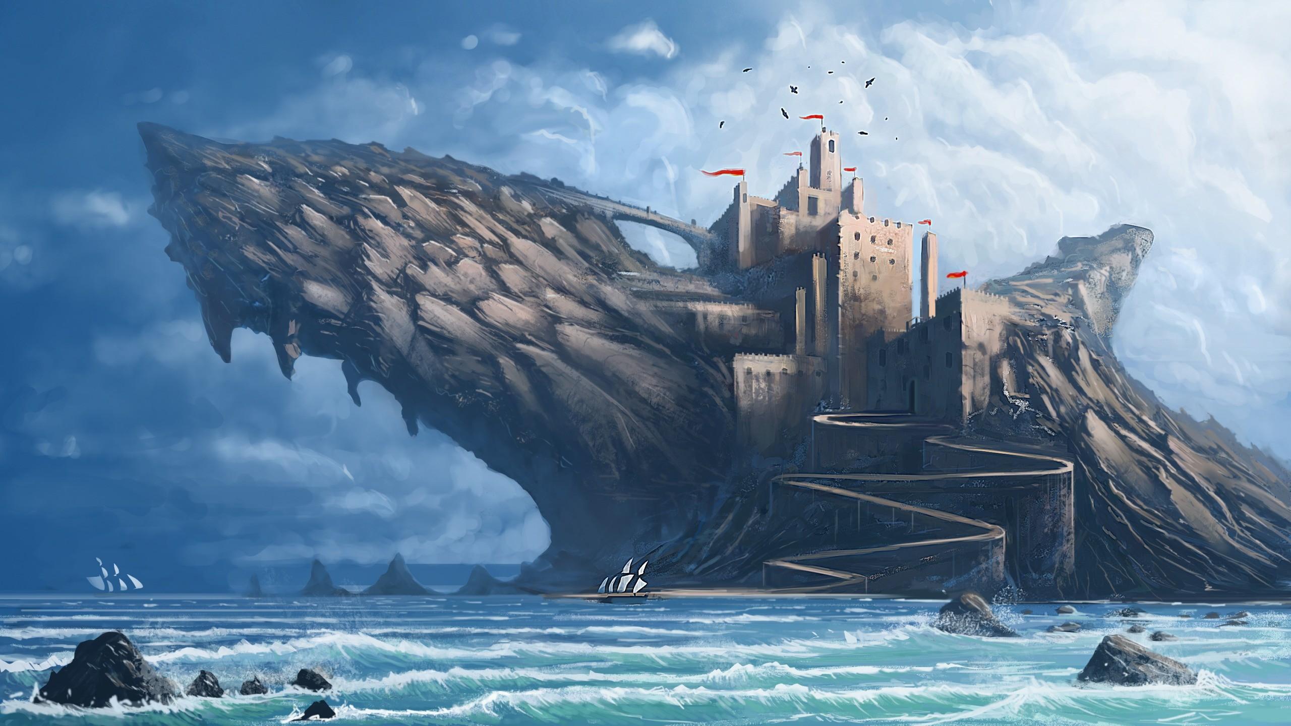 General 2560x1440 digital art fantasy art nature landscape water rock castle shark sea waves sailing ship flag clouds tower birds fangs fin painting DeviantArt