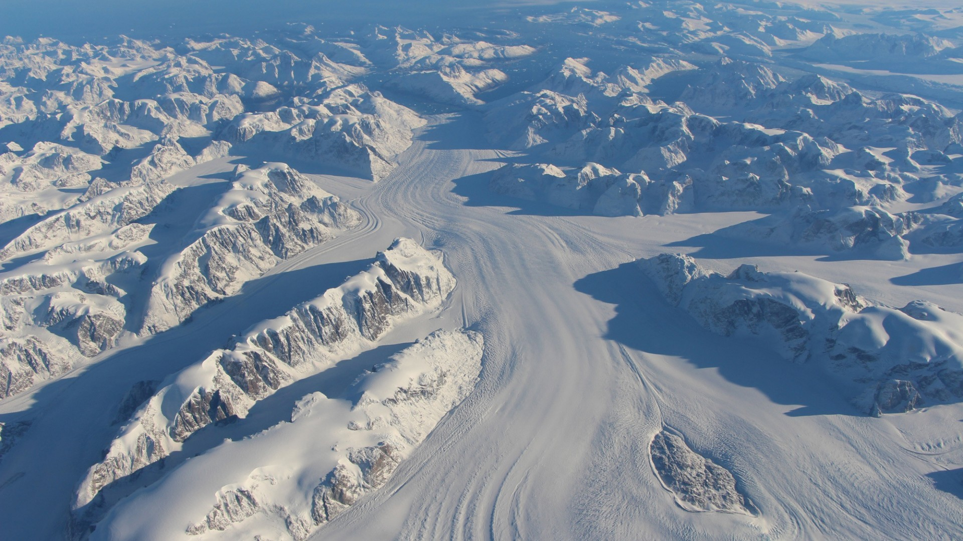General 1920x1080 nature landscape hills winter snow Greenland glaciers sunlight shadow aerial view rock mountains