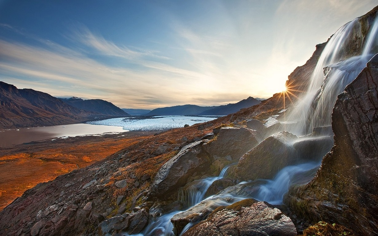 General 1230x768 nature landscape waterfall glaciers mountains clouds morning