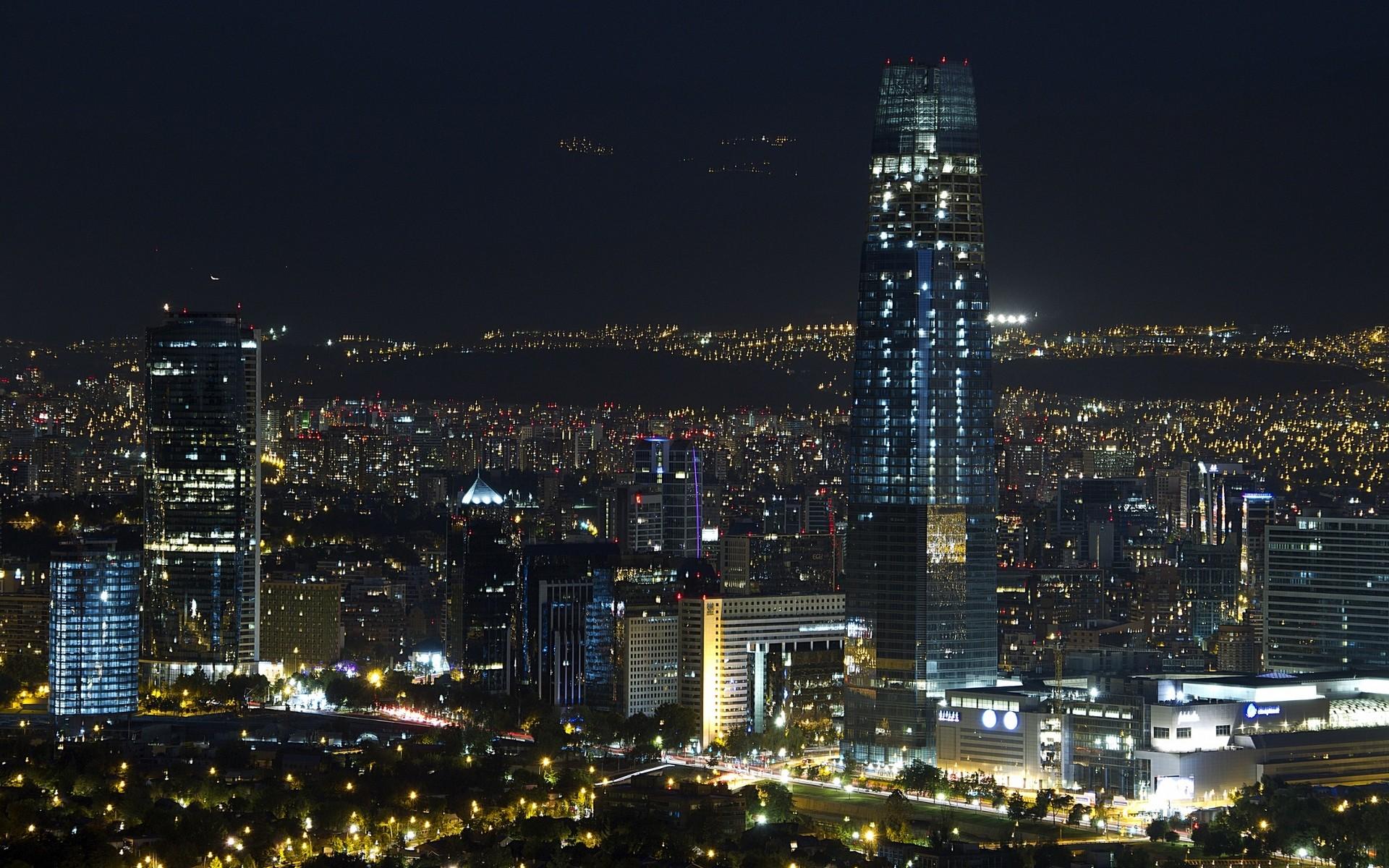 General 1920x1200 landscape lights Santiago de Chile cityscape night skyscraper metropolis  modern urban building architecture