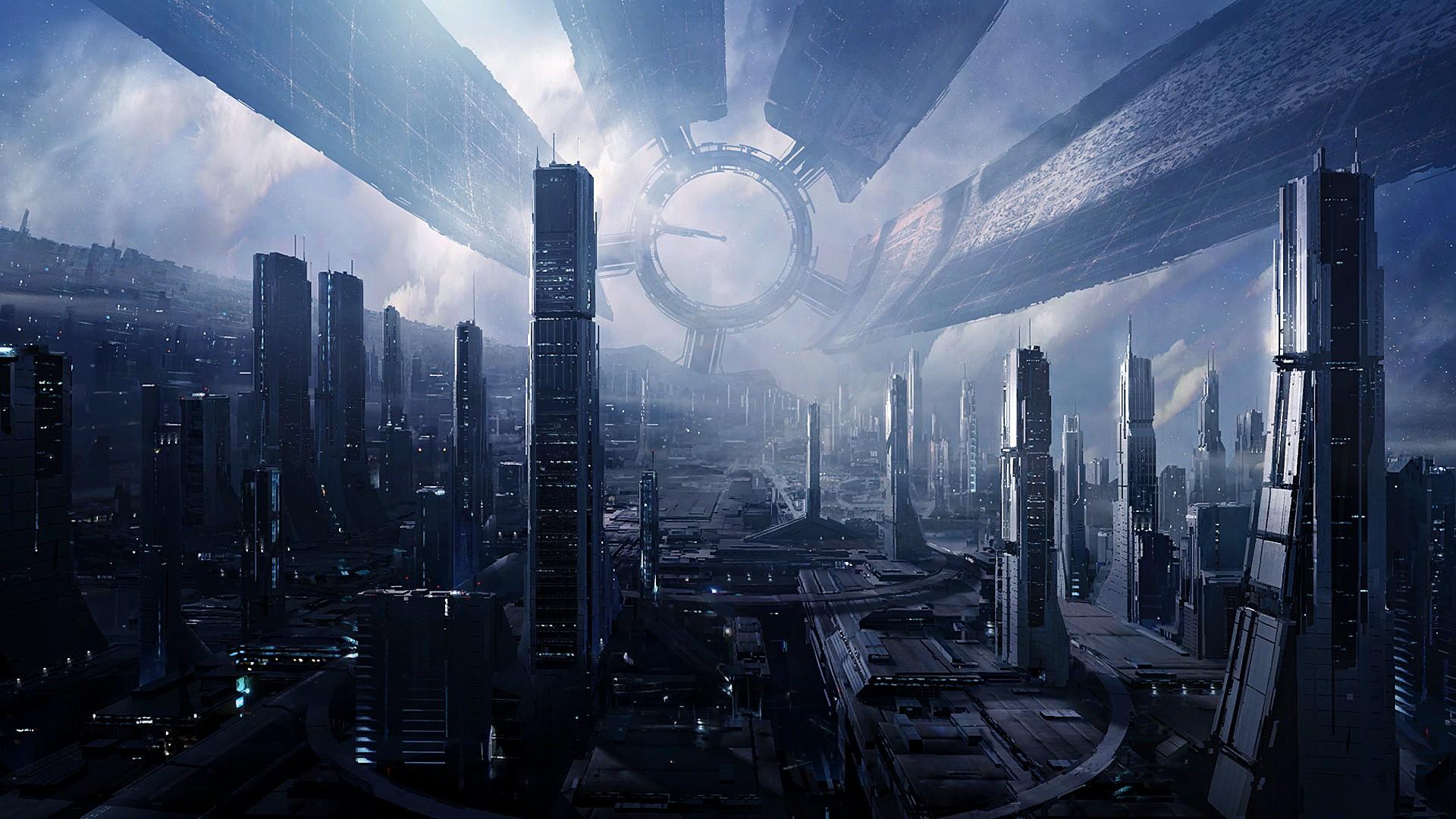 General 1920x1080 futuristic Mass Effect Citadel space nebula space station cityscape skyscraper digital art Citadel (Mass Effect) Mass Effect 3 Mass Effect 2 concept art city science fiction aliens technology
