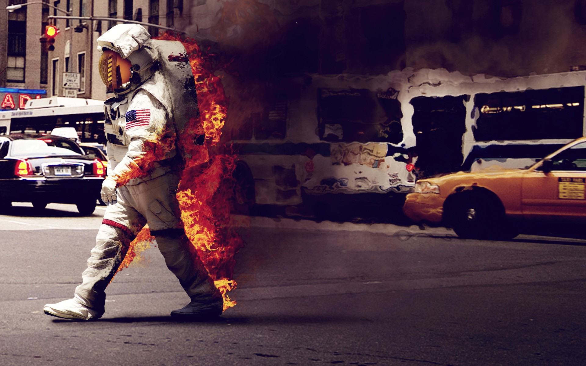 General 1920x1200 astronaut fire humor spacesuit USA traffic smoke road city digital art street burning burn space suit NASA space New York City