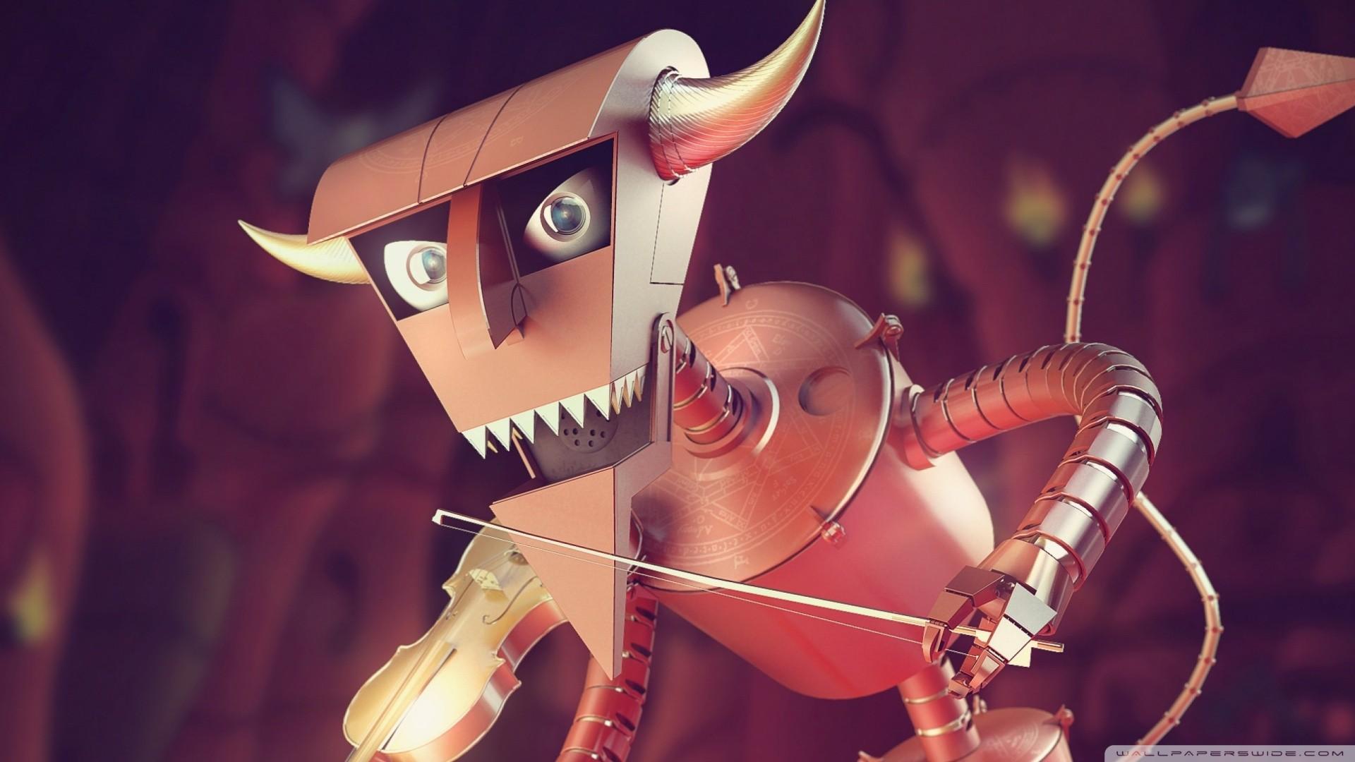 General 1920x1080 Futurama digital art render robot Devil violin hell