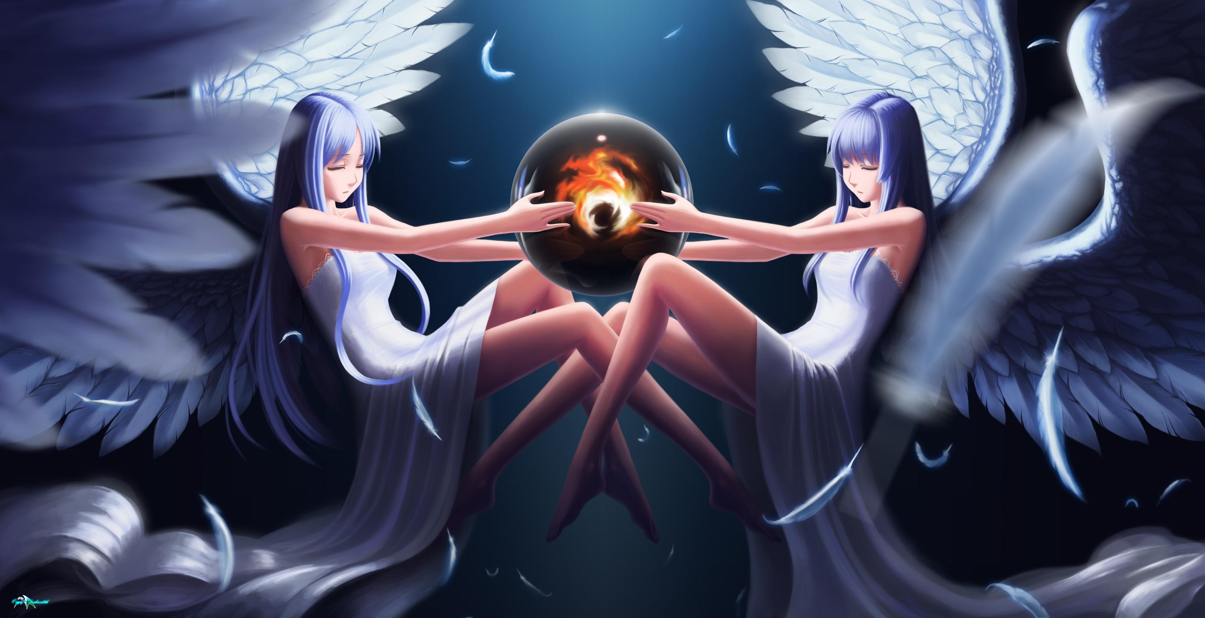 Anime 3900x2000 anime anime girls angel wings legs