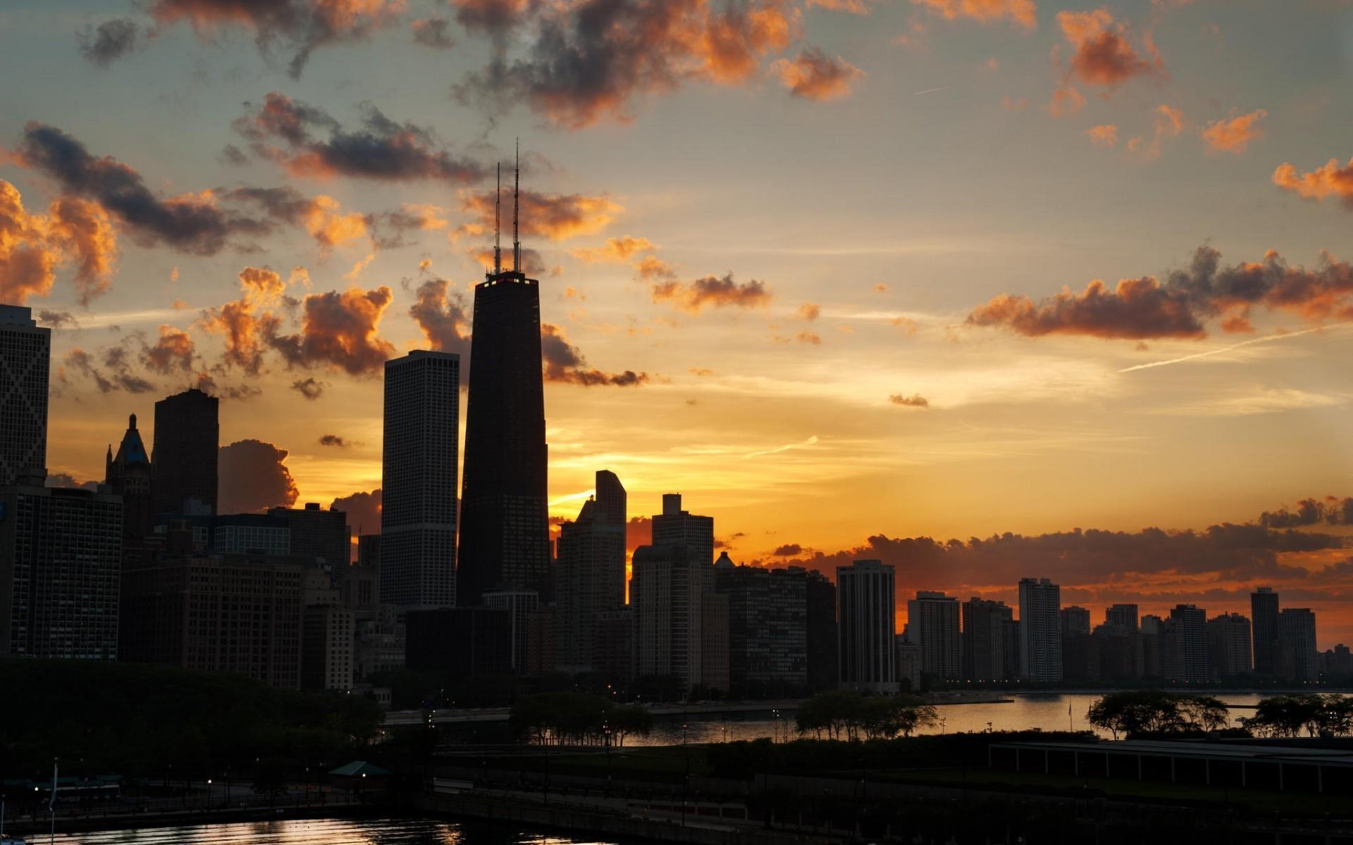 General 1920x1200 cityscape sunset skyline Chicago skyscraper USA sky
