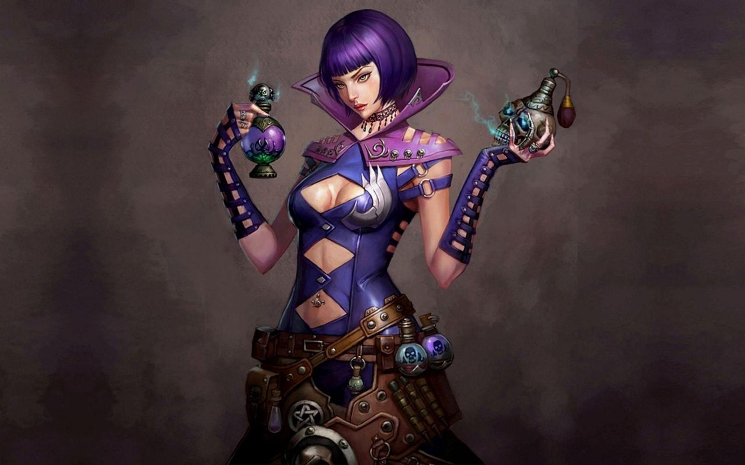 General 2560x1600 women Pathfinder video games fantasy girl fantasy art boobs video game girls purple hair standing artwork
