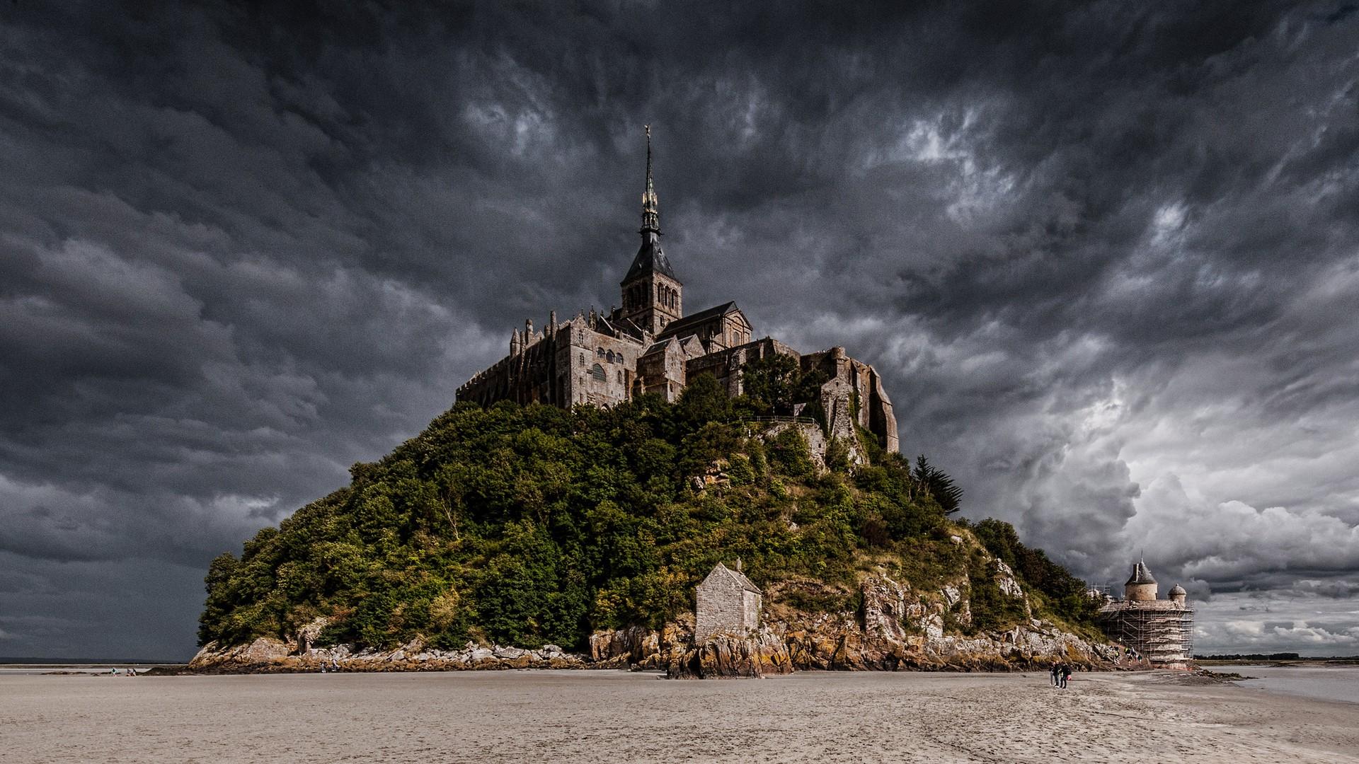 General 1920x1080 nature castle island beach Mont Saint-Michel Abbey