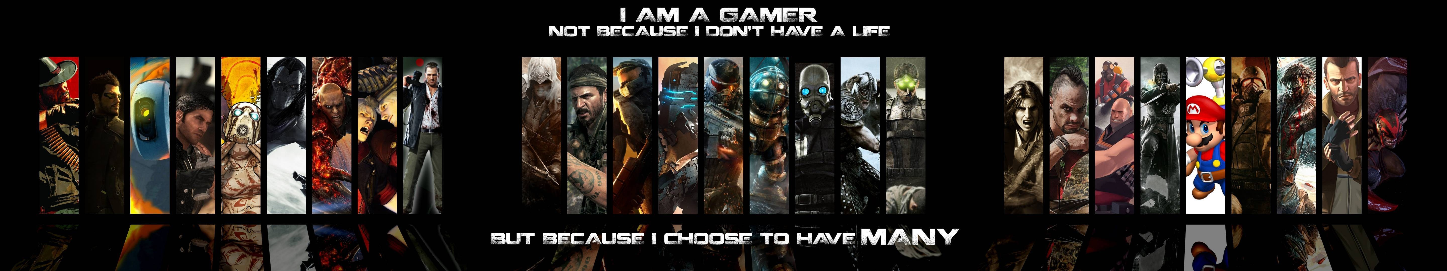 General 5760x1080 video games Team Fortress 2 Halo Half-Life 2 Crysis Assassin's Creed Portal (game) Master Chief Dota 2 collage PC gaming Darksiders 2 Dead Space Devil May Cry Splinter Cell BioShock Mario (Character Dishonored Fallout Grand Theft Auto IV