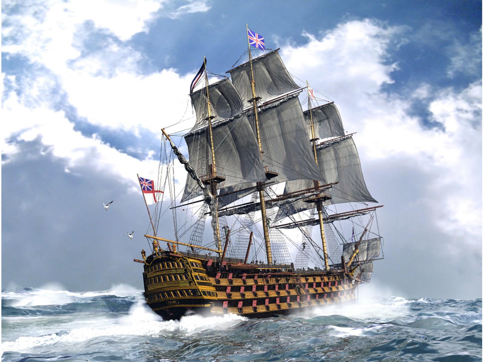 General 1600x1200 England sailing ship sea ship clouds vehicle artwork Man-of-war rigging (ship) military warship military vehicle