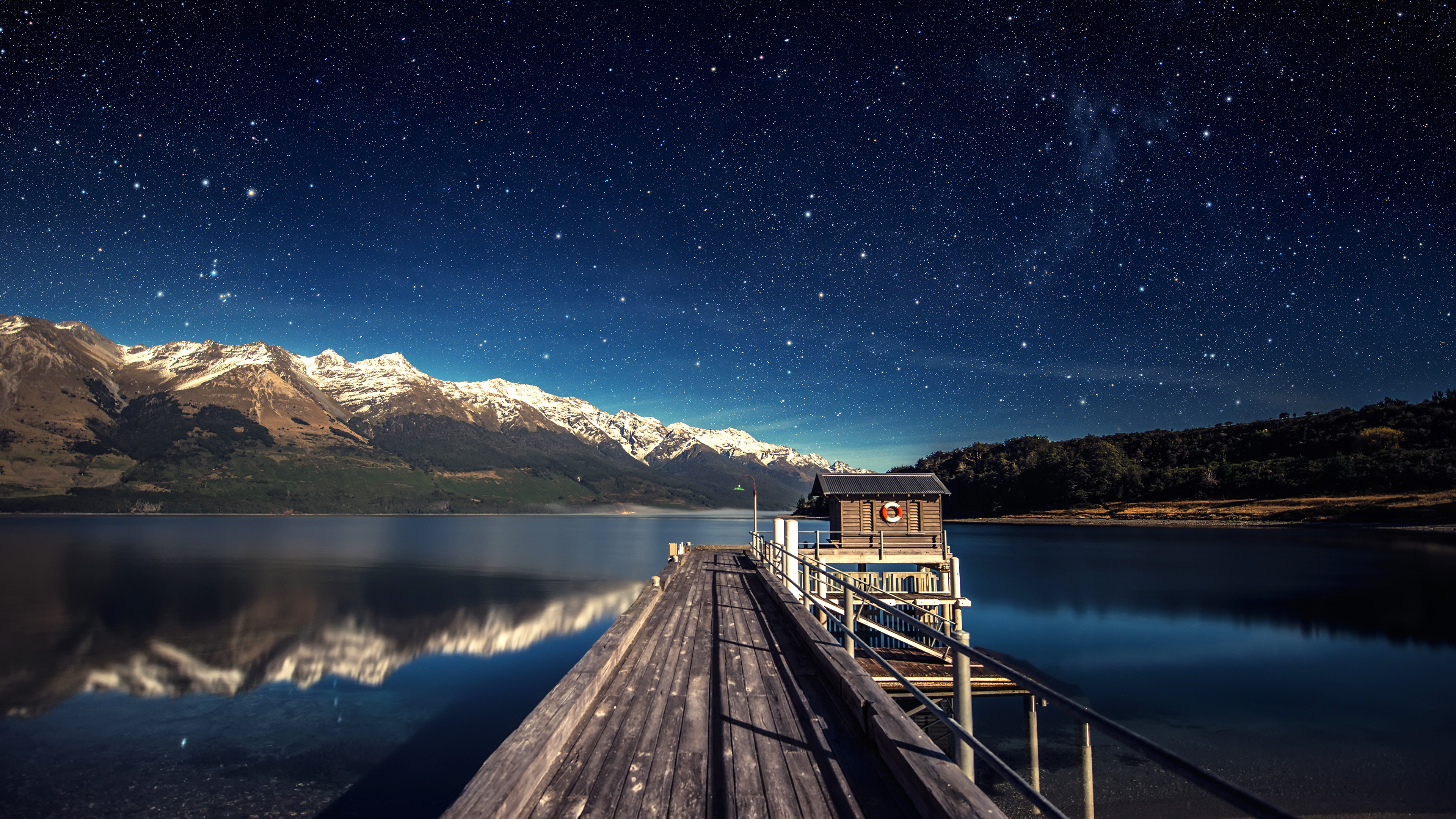 General 3840x2160 landscape stars mountains water night lake nature horizon 500px calm waters snowy peak outdoors reflection