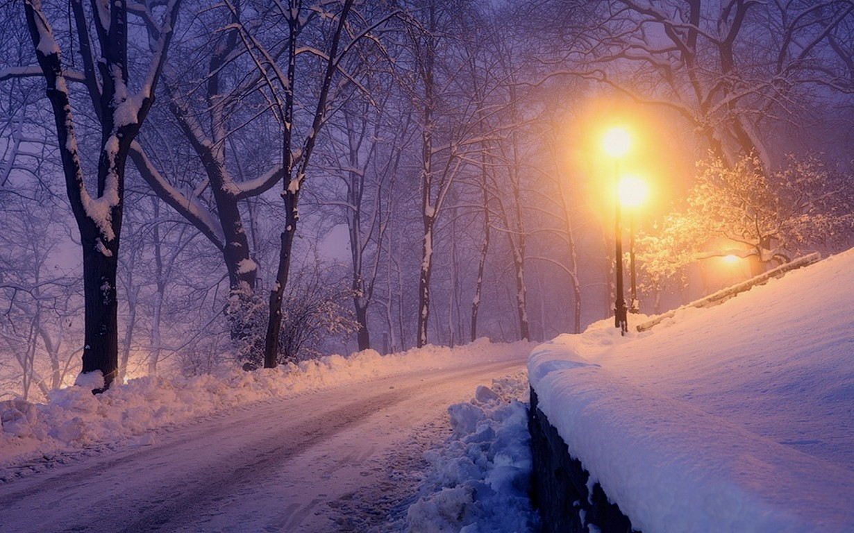 General 1230x768 nature landscape lantern winter park snow trees lights road cold