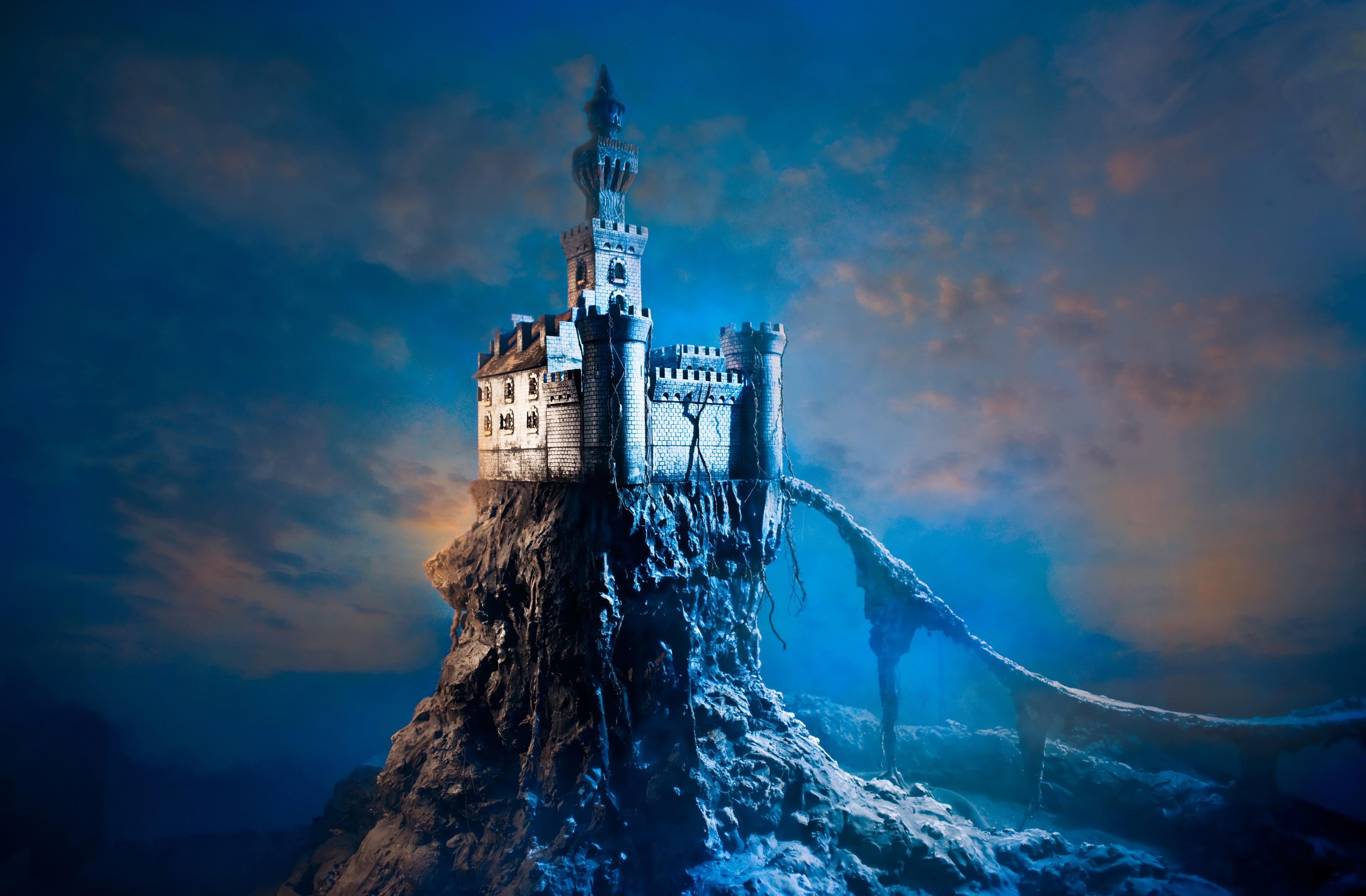 General 3840x2518 castle fantasy art sky digital art