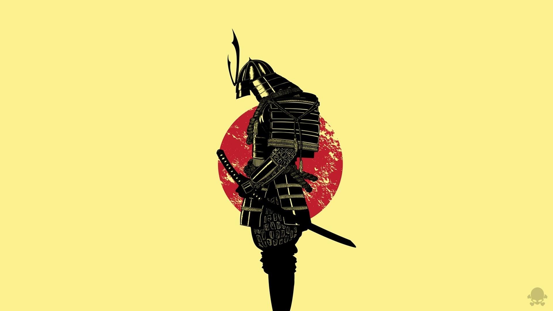 General 1920x1080 samurai warrior Japan armor minimalism artwork
