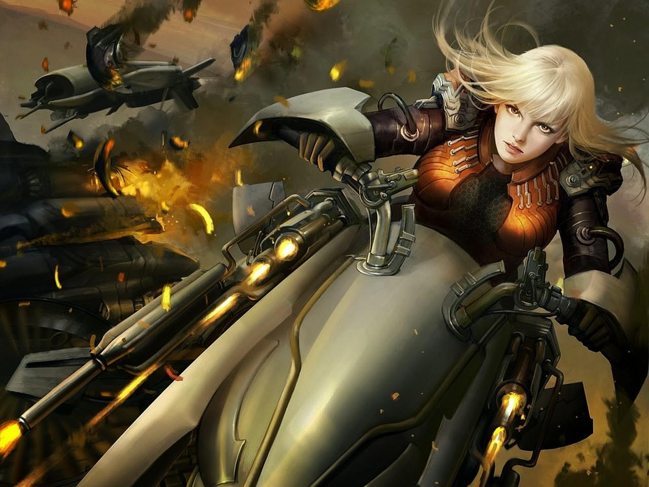 General 1280x960 vehicle science fiction battle blonde artwork women