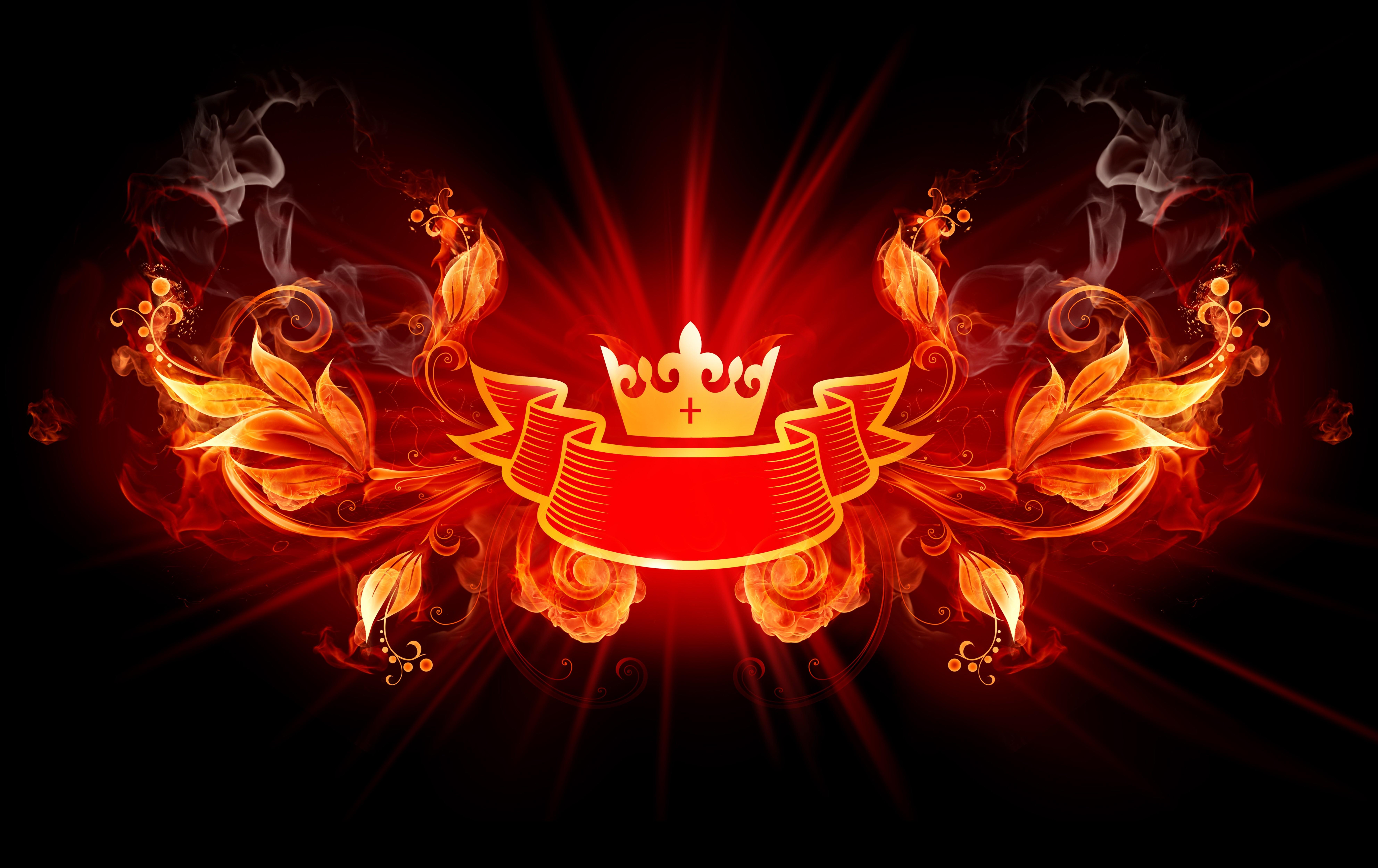 General 7935x5000 digital art fire crown floral curtains plants leaves swirls