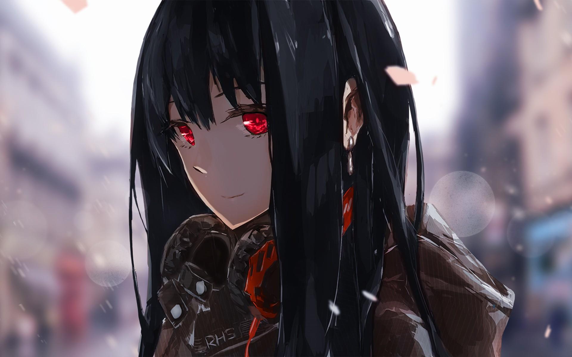 Anime 1920x1200 anime headphones red eyes black hair THE iDOLM@STER: Cinderella Girls Shibuya Rin THE iDOLM@STER Lowlight Kirilenko anime girls rain dark hair looking at viewer
