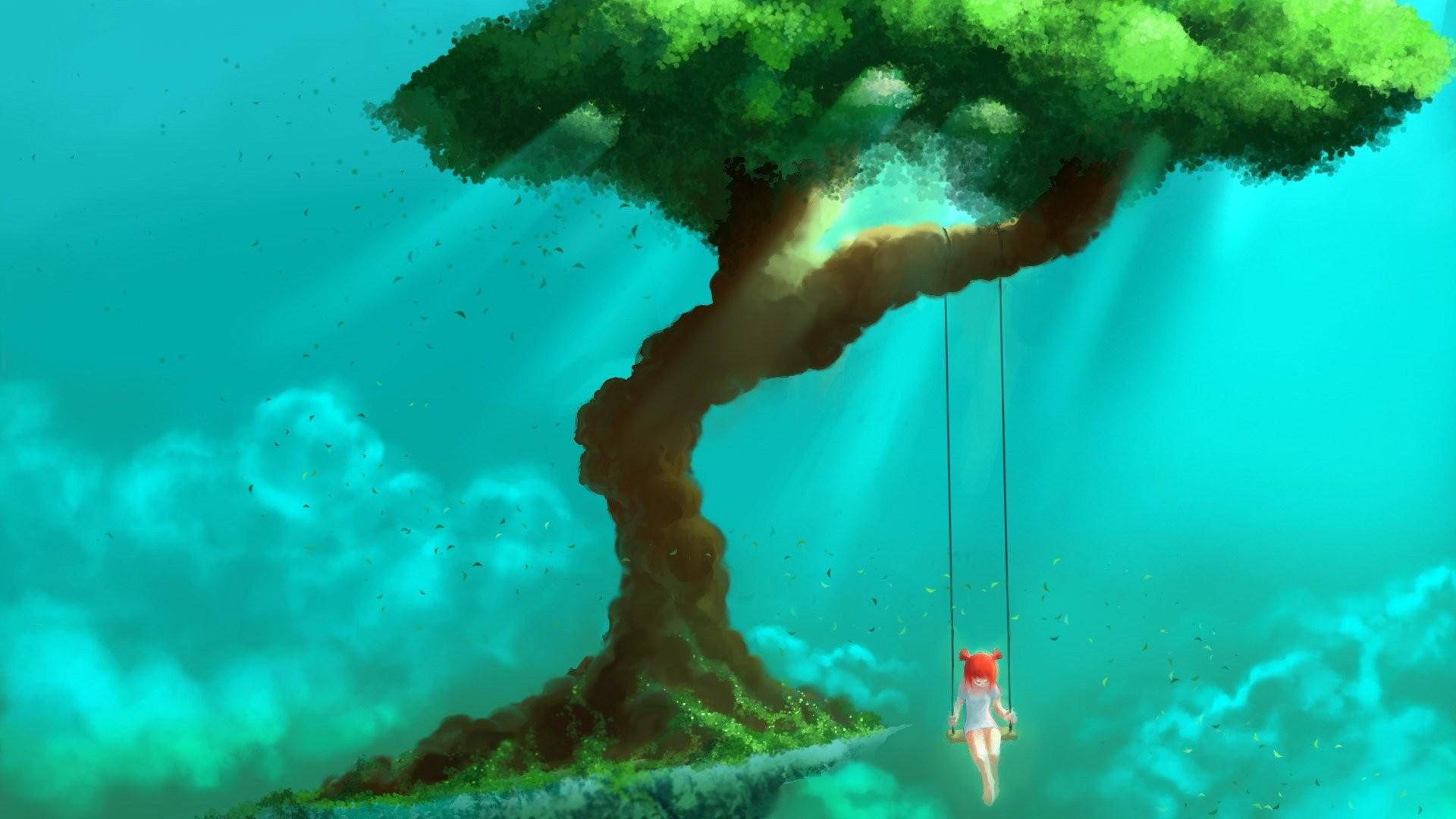 General 1920x1080 fantasy art trees children swings sky nature redhead artwork turquoise