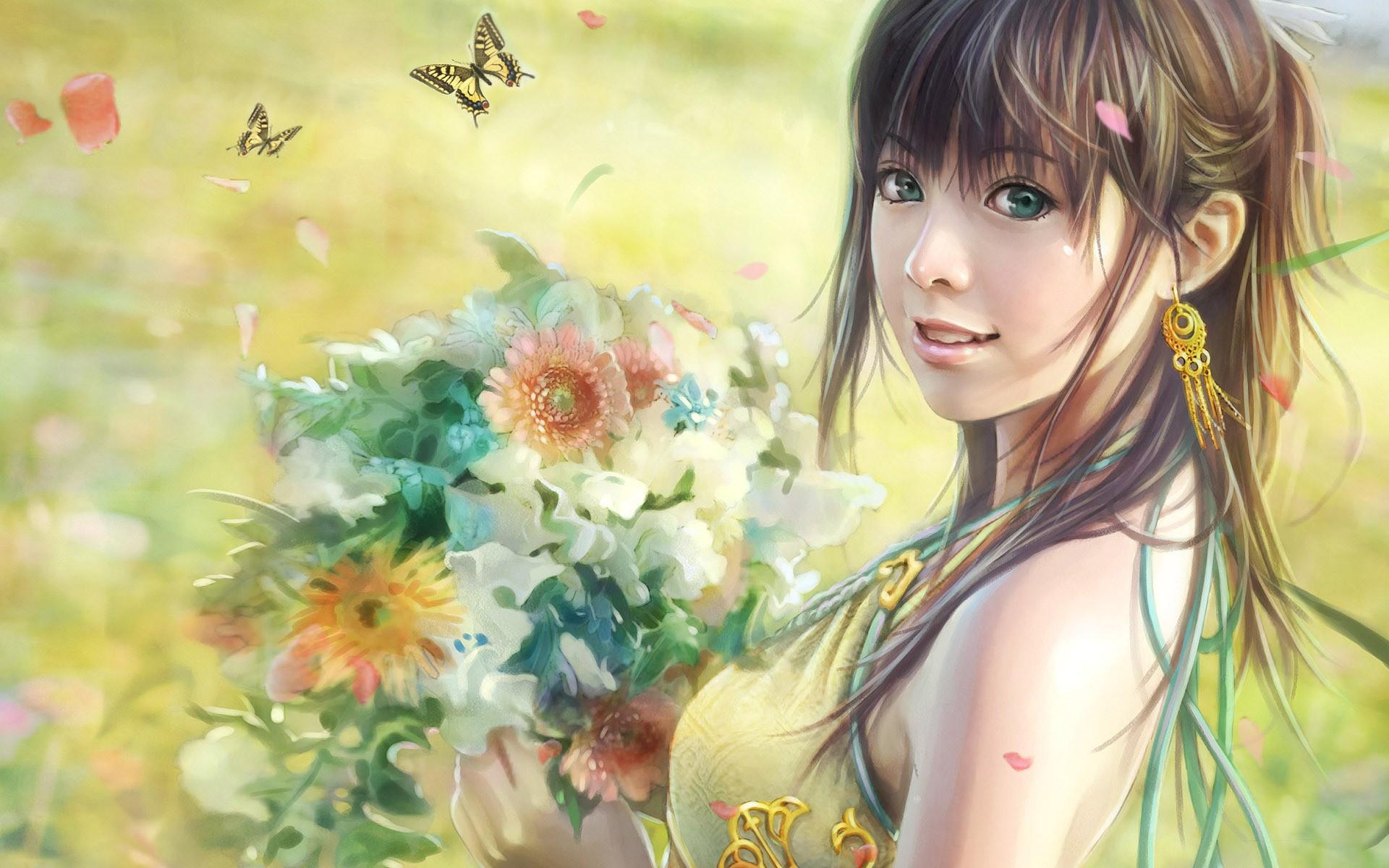 General 1920x1200 anime digital art drawing fantasy art flowers