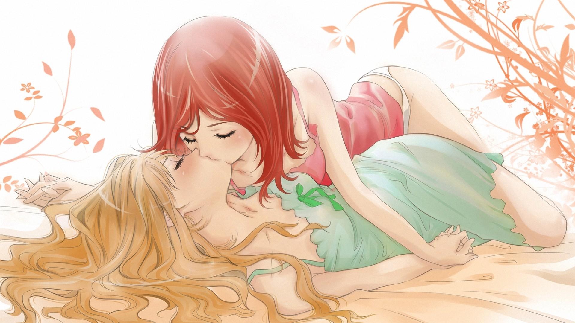 Anime 1920x1080 kissing yuri anime closed eyes lesbians