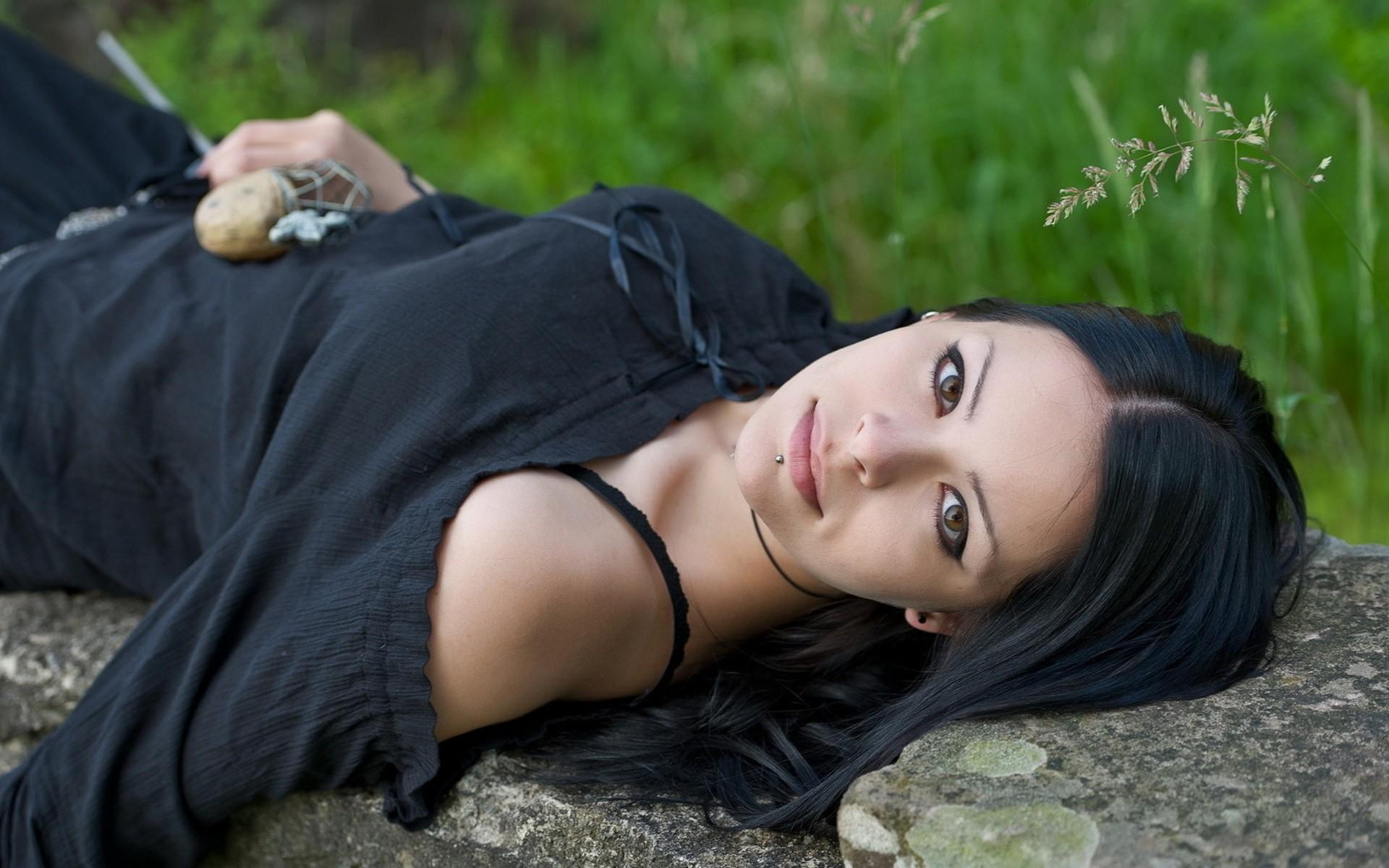 People 1920x1200 women model long hair women outdoors grass dark hair black dress piercing