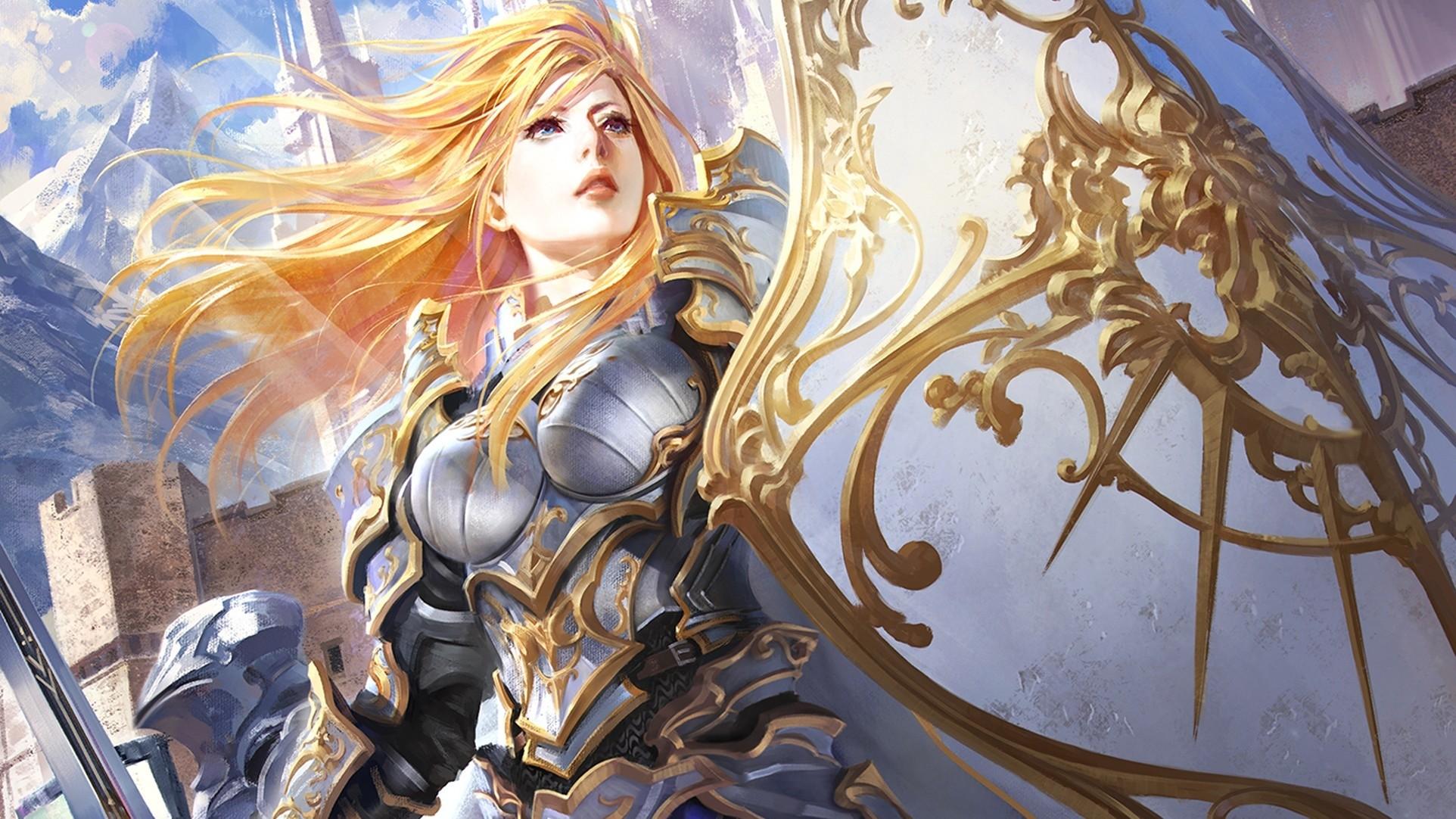 General 1924x1082 fantasy art blonde Armored long hair shield fantasy girl