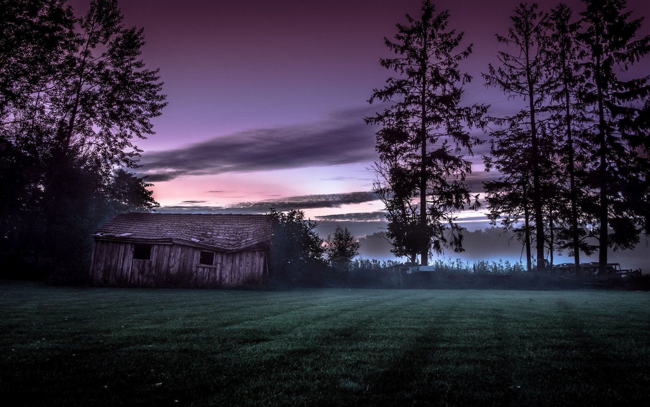 General 2100x1315 nature landscape hut trees mist grass old cottage sunset Norway clouds
