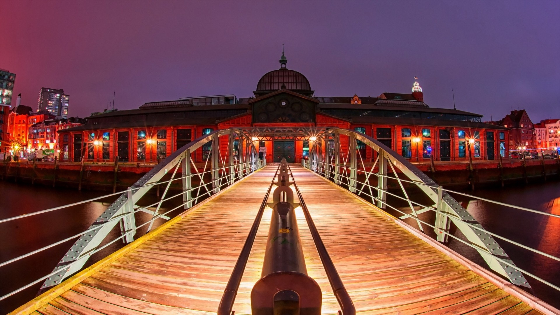 General 1920x1080 architecture city cityscape Hamburg Germany water old building night lights sky wooden surface bridge river fisheye lens metal landscape