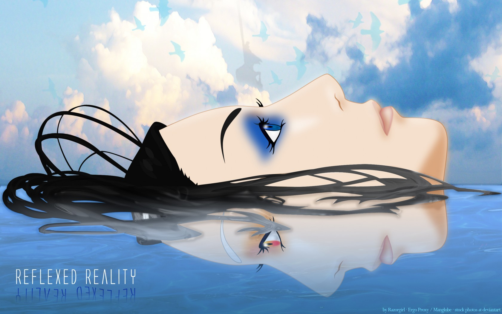 Anime 1680x1050 Ergo Proxy Re-l Mayer anime girls blue eyes upside down dark hair face anime