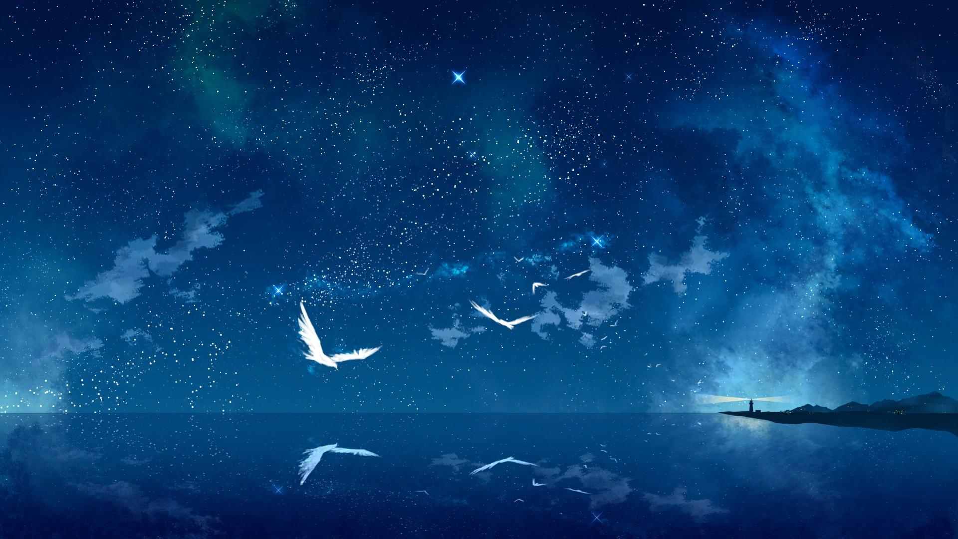 General 1920x1080 fantasy art night sky stars sea light house sea gulls birds digital art nature