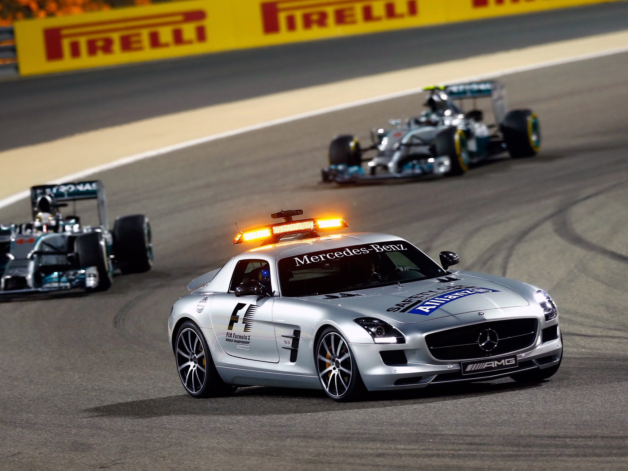General 2048x1536 car vehicle sports car Formula 1 safety car Mercedes-Benz SLS AMG supercars lights race tracks world champion Grand Prix Bahrain Lewis Hamilton Nico Rosberg Mercedes F1 depth of field Mercedes-Benz