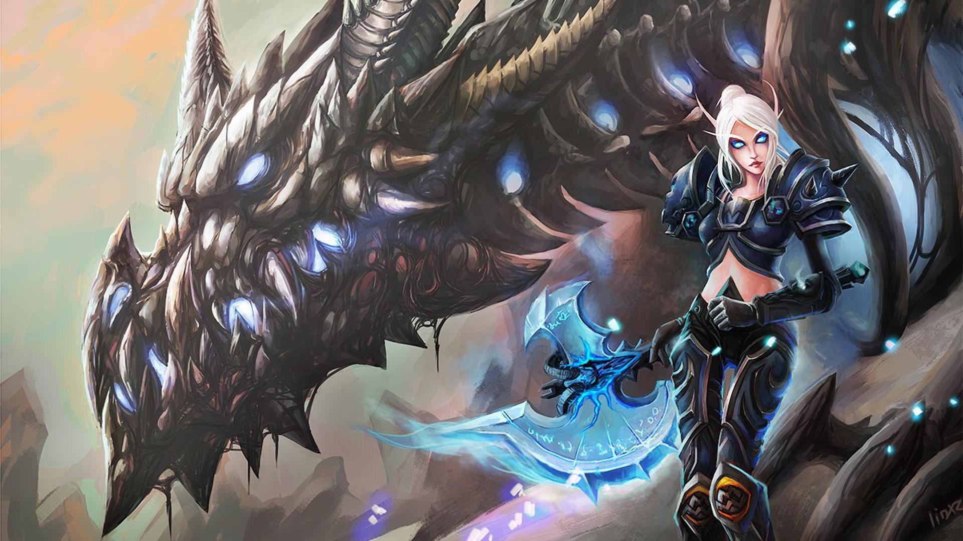 Anime 1920x1080 World of Warcraft dragon blood elves death knights Sindragosa video game girls PC gaming creature video game art blue eyes blonde axes women glowing eyes standing fantasy art fantasy girl