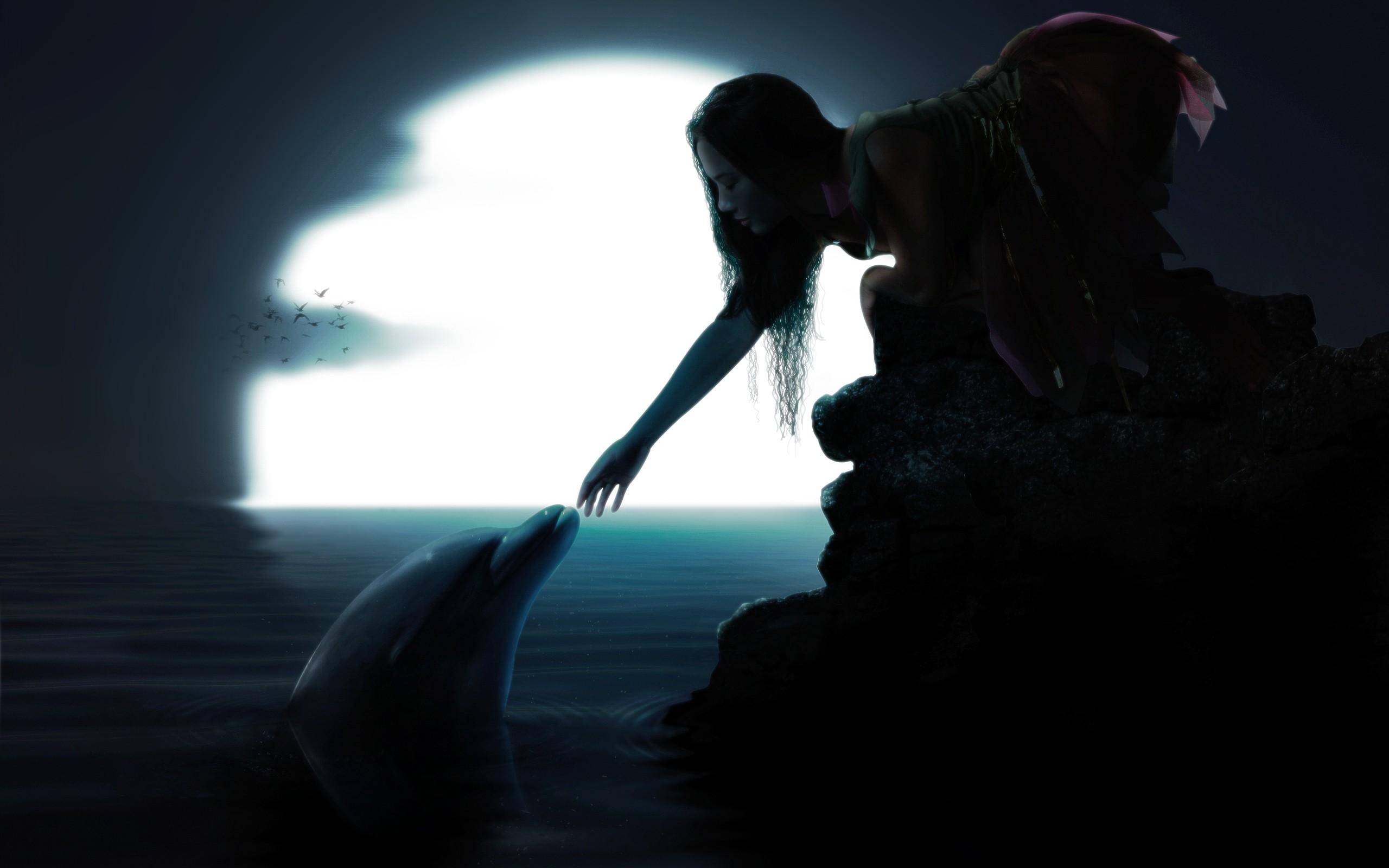 General 2560x1600 dolphin fantasy girl Moon fantasy art women dark mammals night animals sea